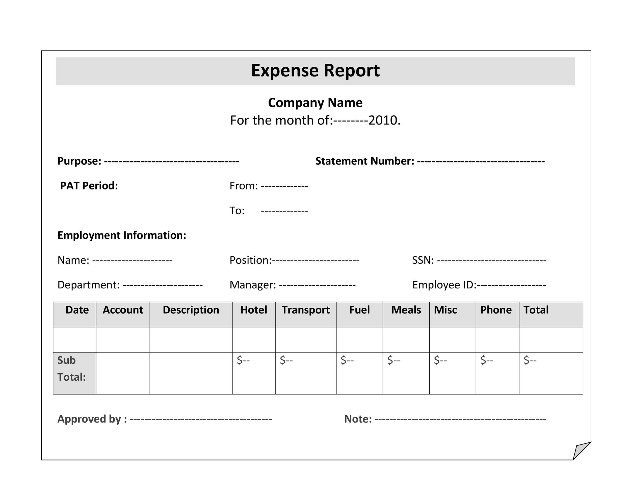 Free expense report template 36