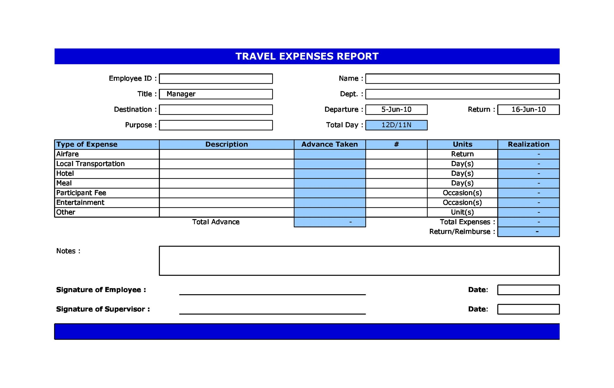 Free expense report template 38