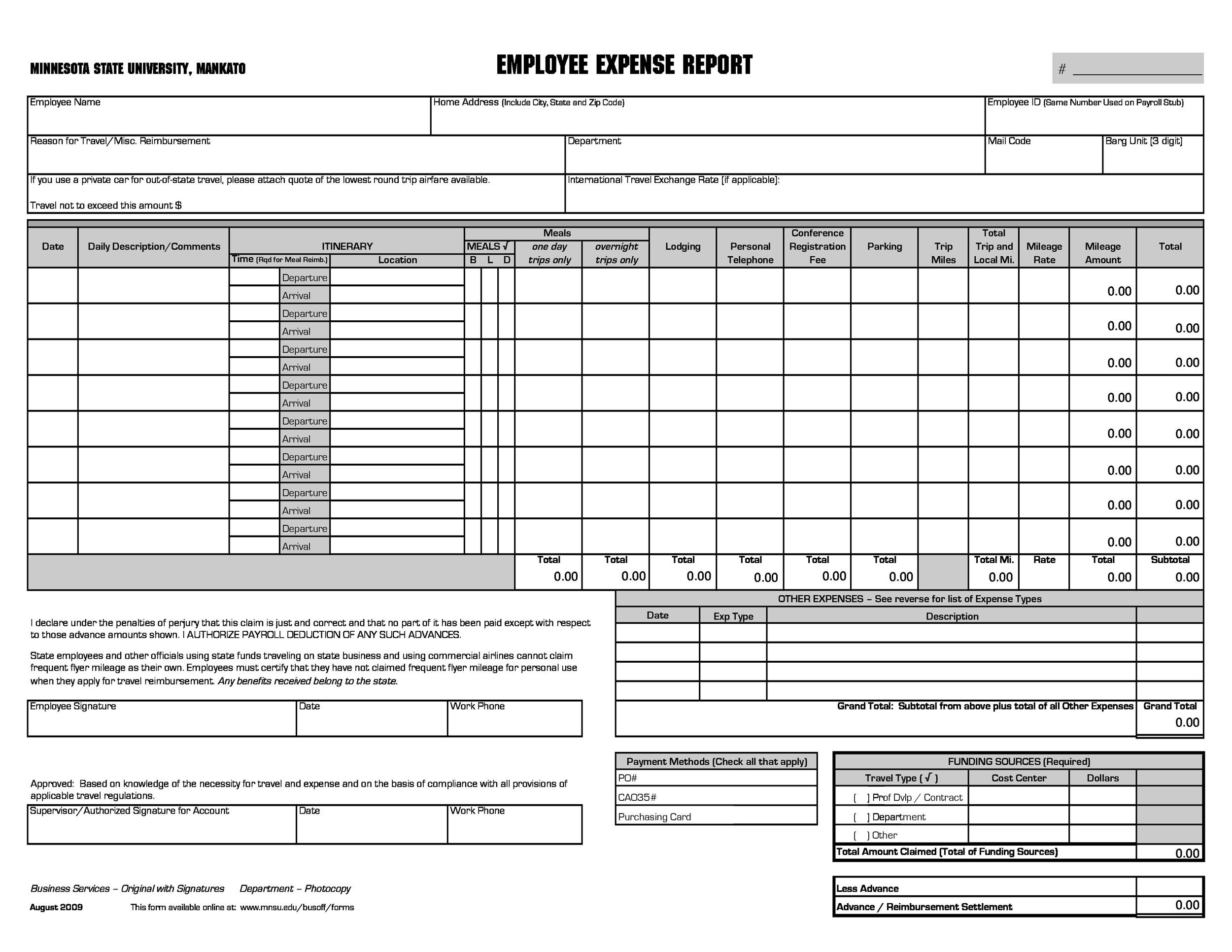 Free expense report template 40