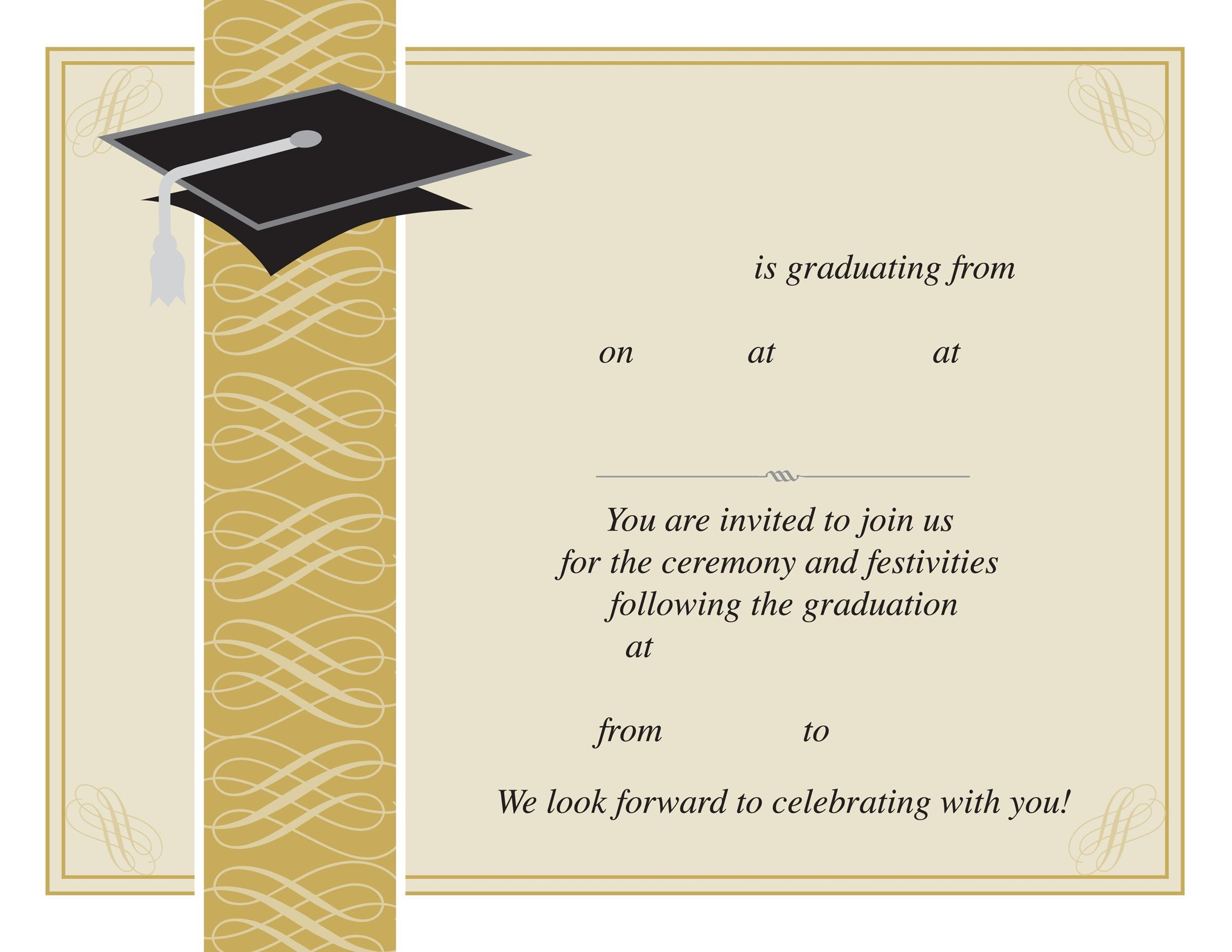 Mesmerizing image inside free printable graduation invitation templates