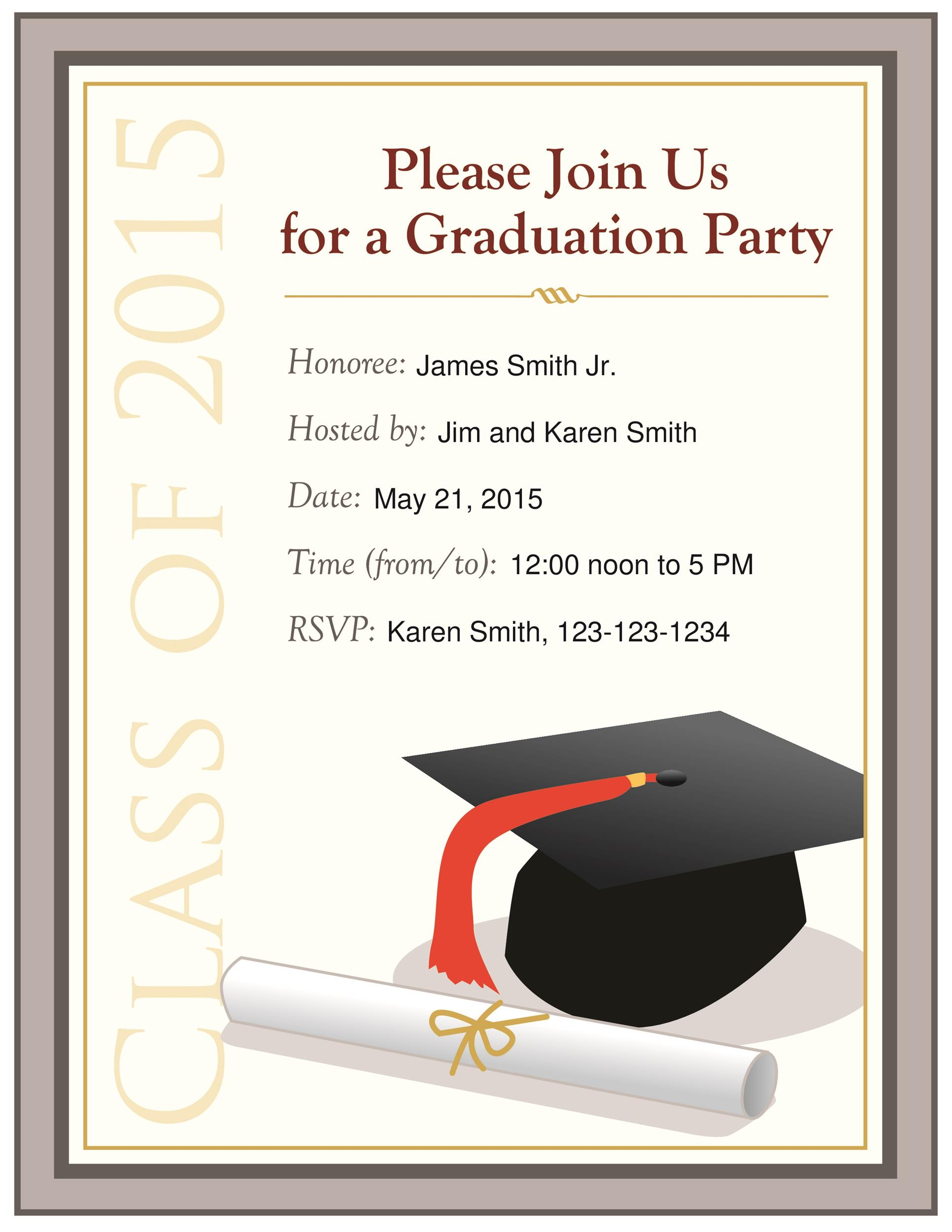 graphic about Printable Graduation Announcements called 40+ Free of charge Commencement Invitation Templates ᐅ Template Lab