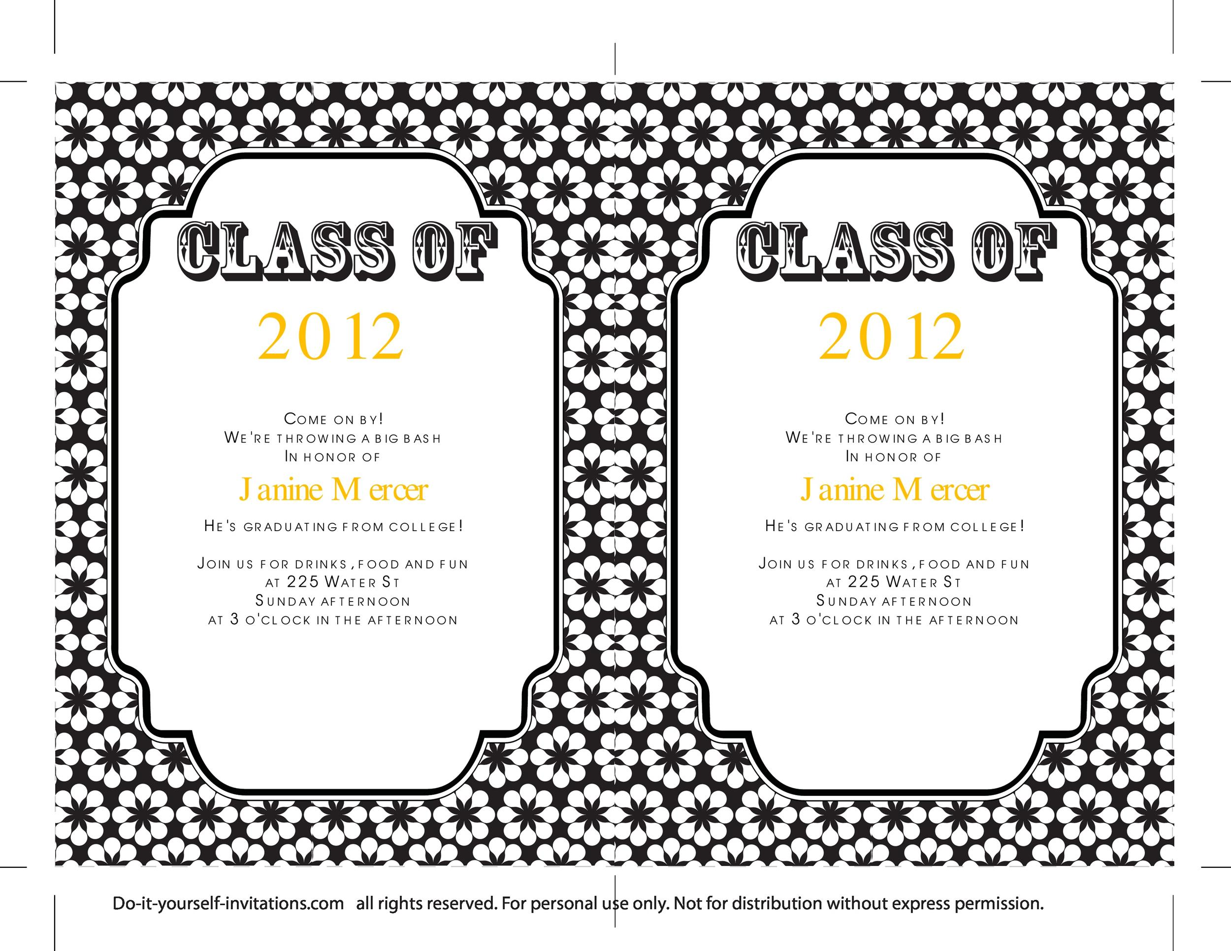 Fabulous image pertaining to free printable graduation invitation templates