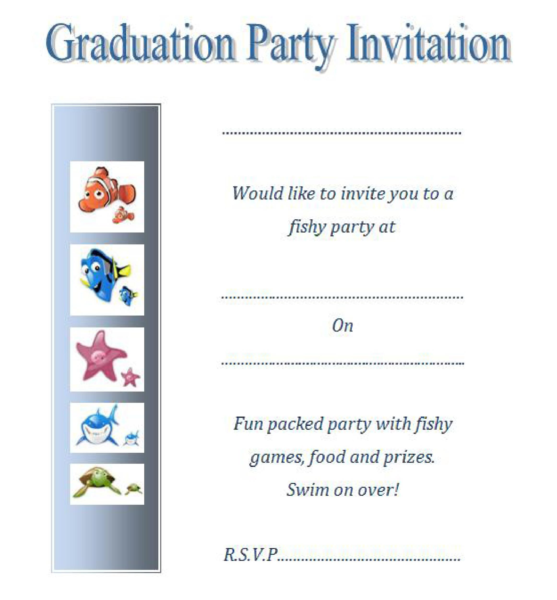 picture about Free Printable Graduation Party Games identified as 40+ No cost Commencement Invitation Templates ᐅ Template Lab