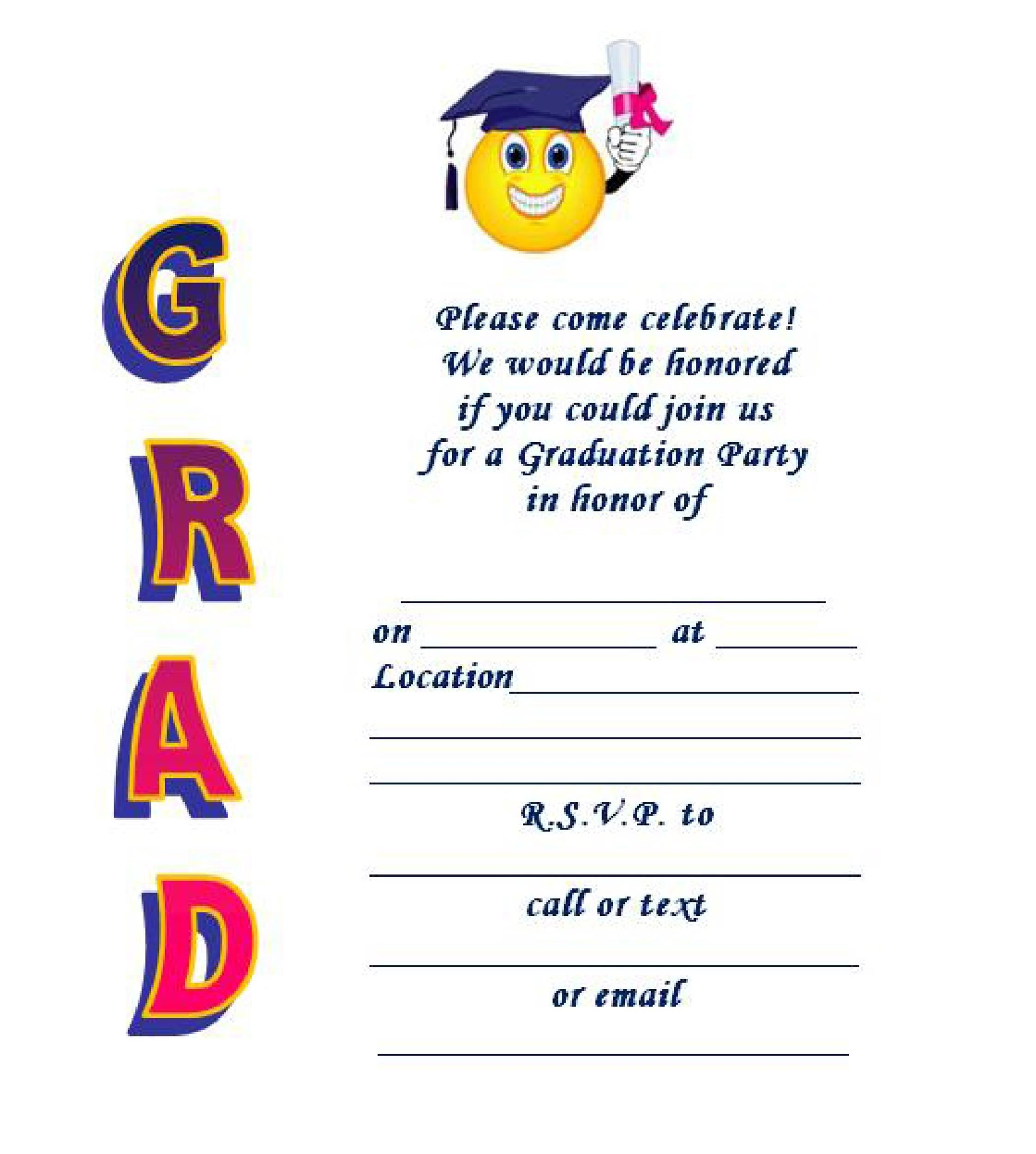 free printable preschool graduation invitations 40 free graduation invitation templates template lab 570