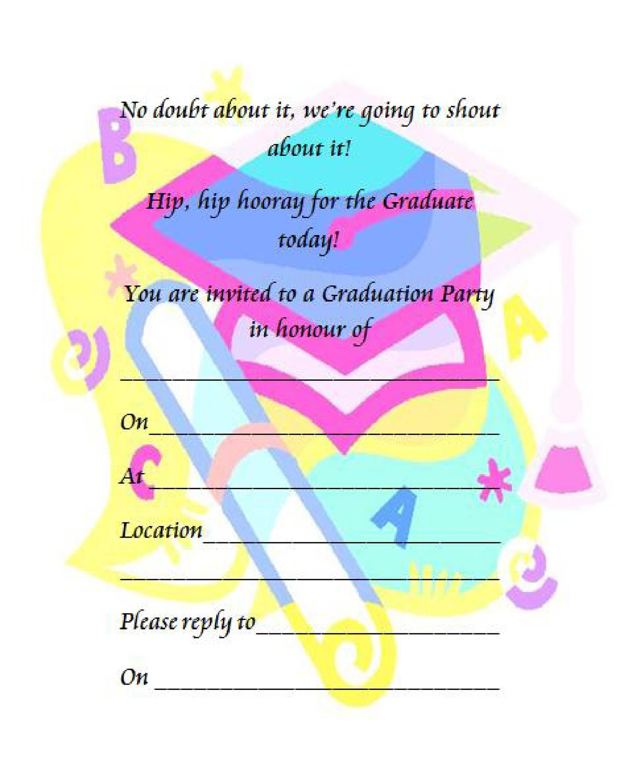 Graduation Invitation Template Novasatfmtk - Party invitation template: graduation party invitation postcard templates free