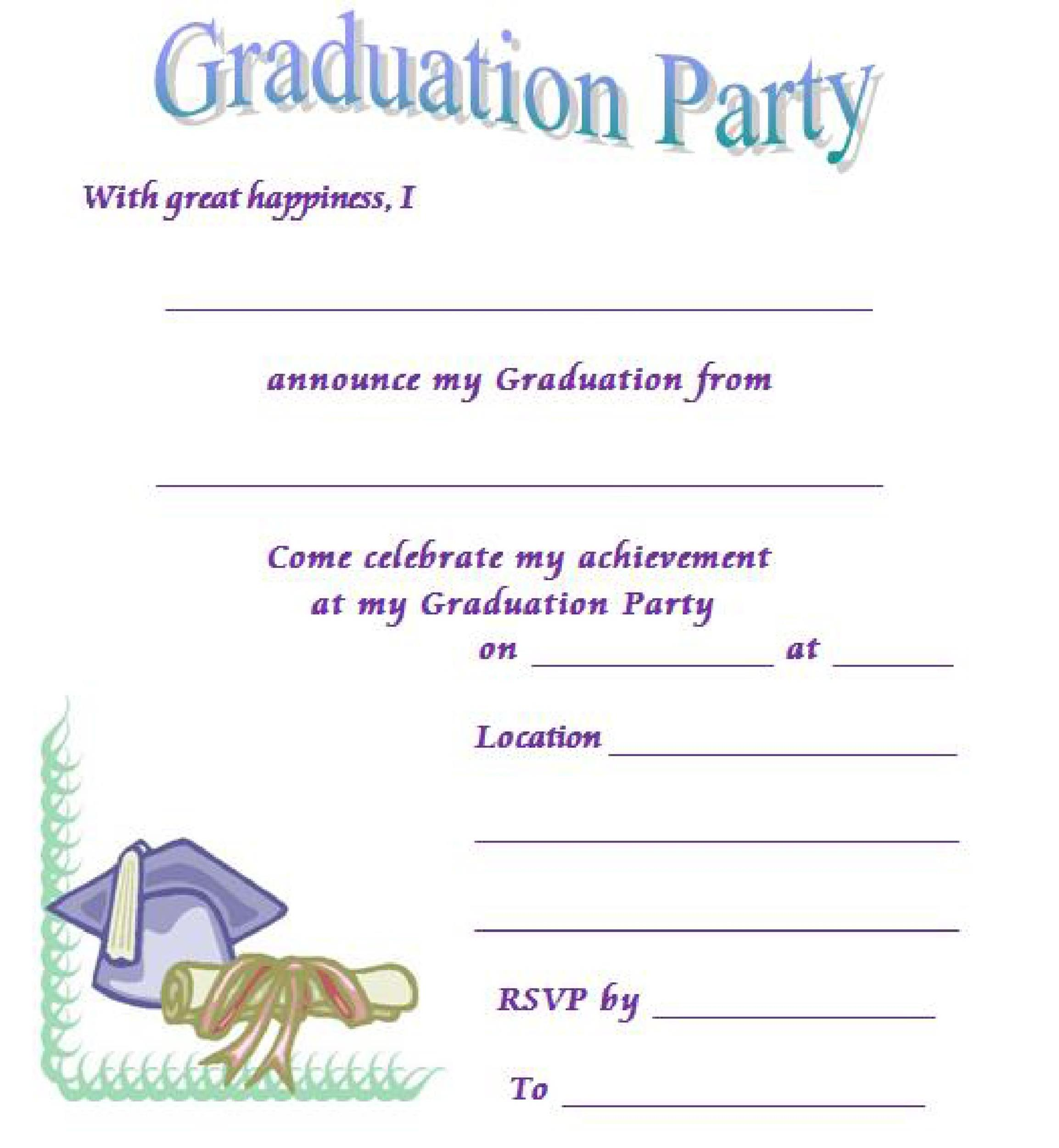 Printable Graduation Invitation Templates 37  Invitation Free Templates