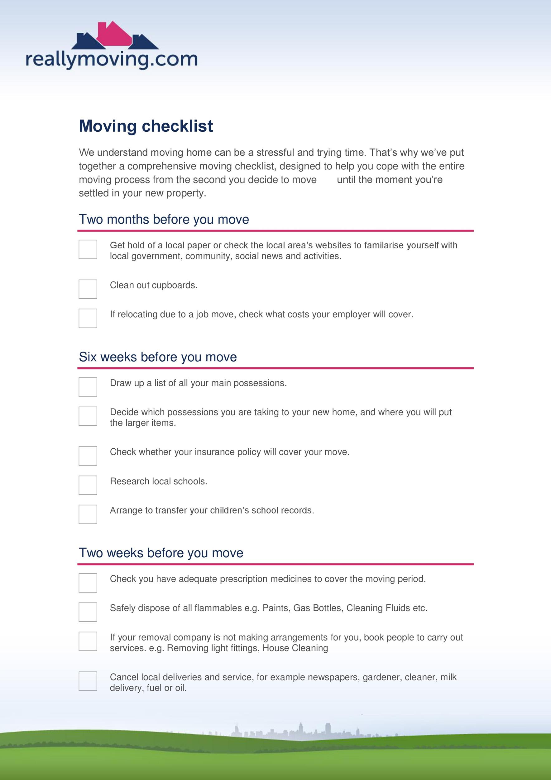 Free moving checklist 10
