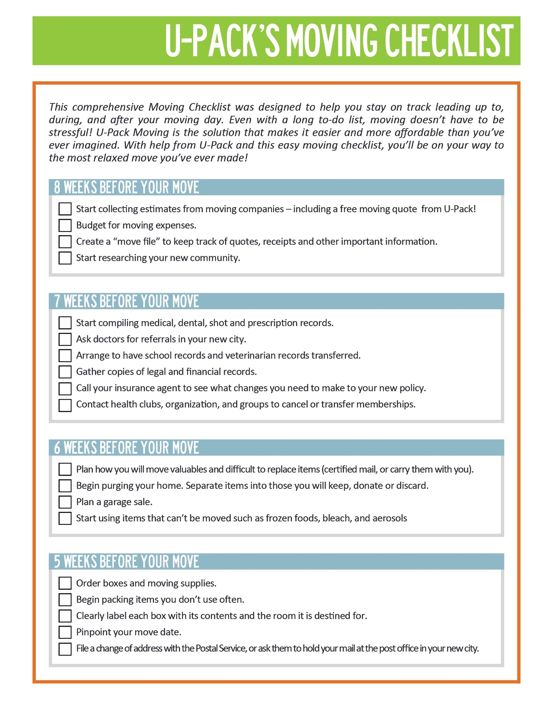 photograph regarding Stay Organized With a Printable Moving Checklist titled 45 Outstanding Transferring Checklists [List for Shifting In just / Out