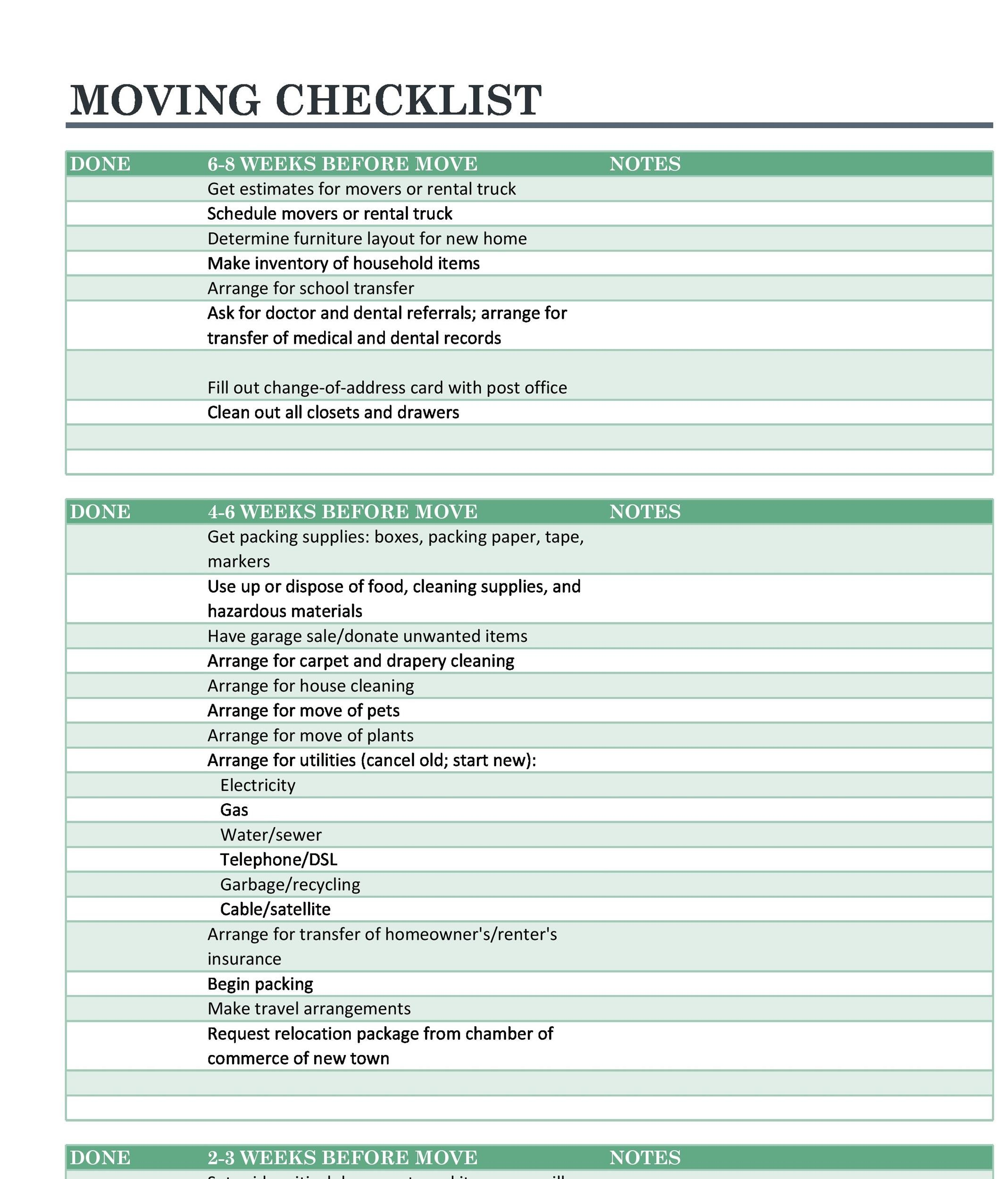 45 great moving checklists checklist for moving in out