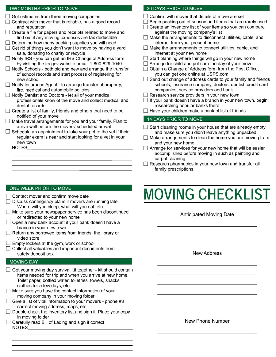 Free moving checklist 37