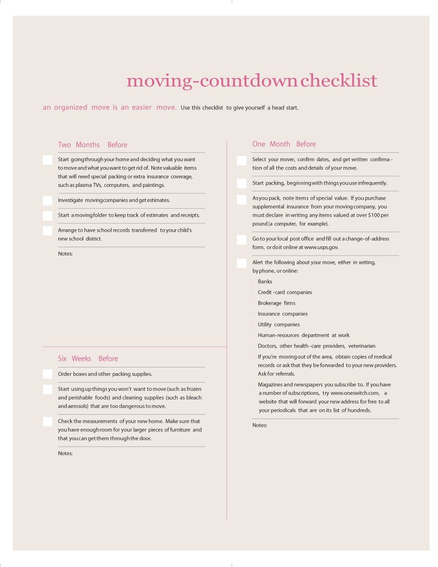Free moving checklist 41