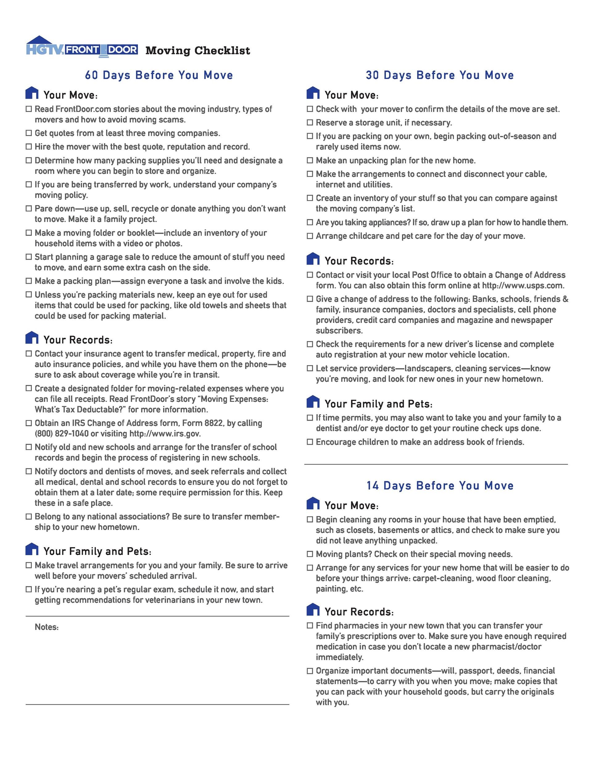 Free moving checklist 42
