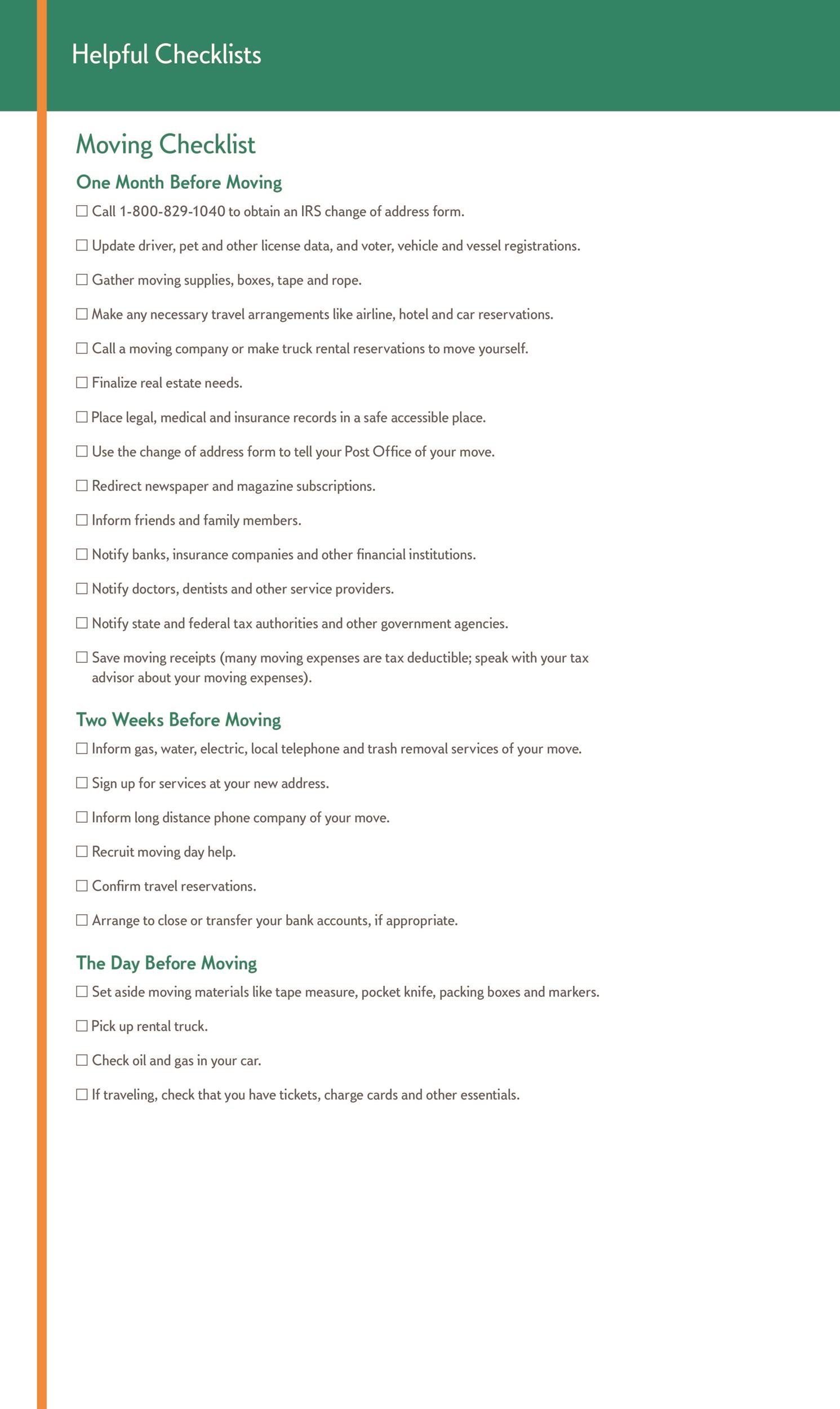 45 Great Moving Checklists [Checklist for Moving In / Out ...