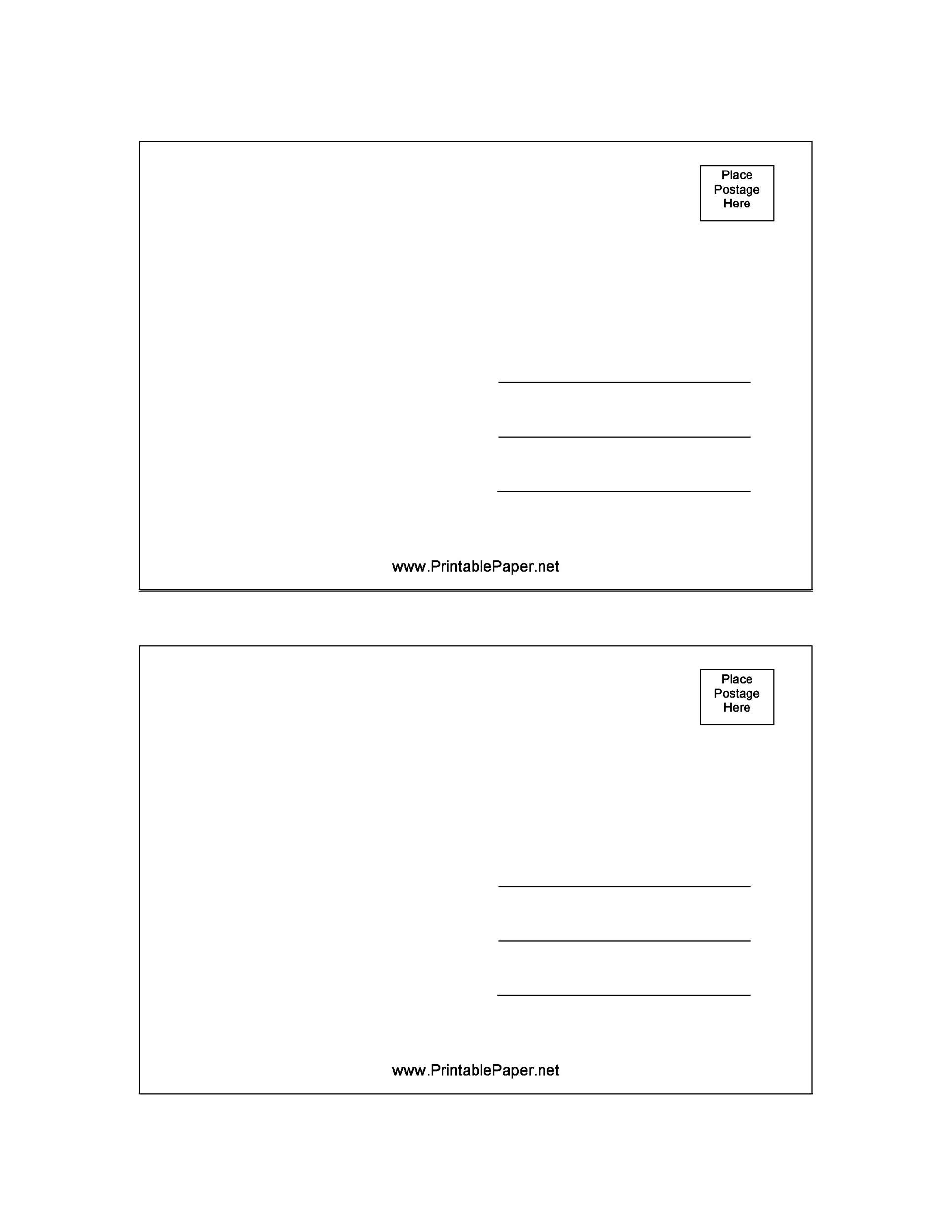 Beautiful Printable Postcard Template 04  Postcard Templates Free
