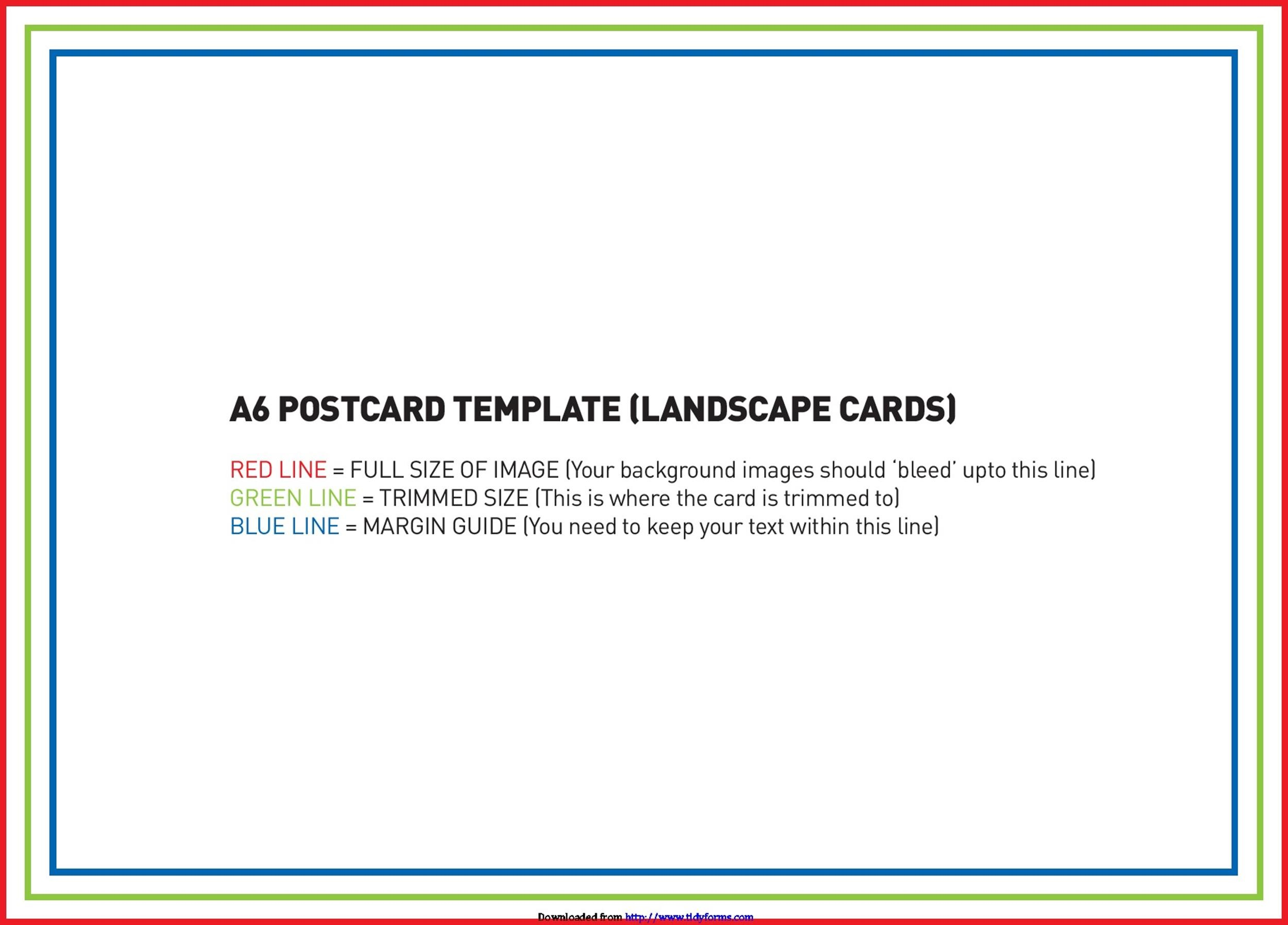 Inventive image within printable postcards template