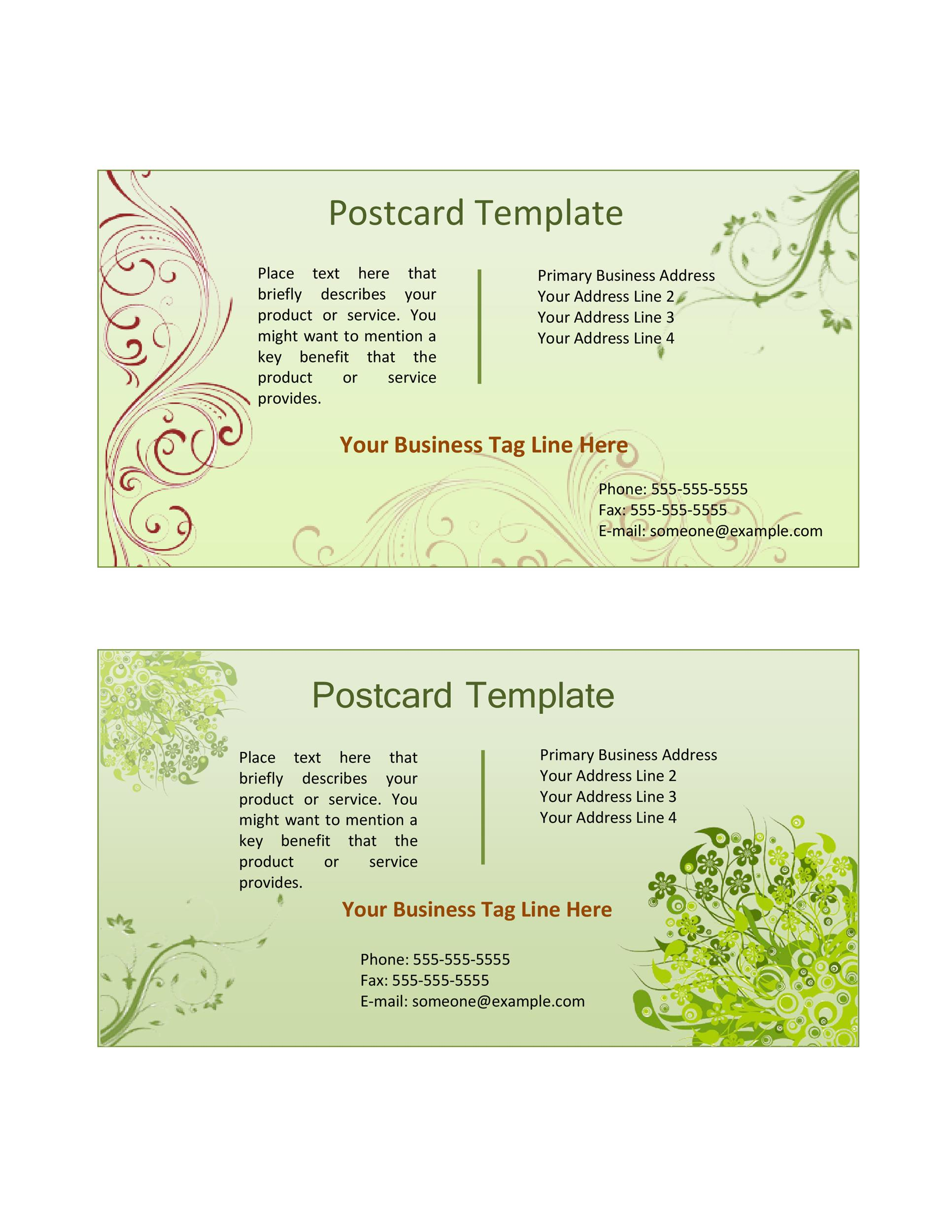 Free postcard template 39