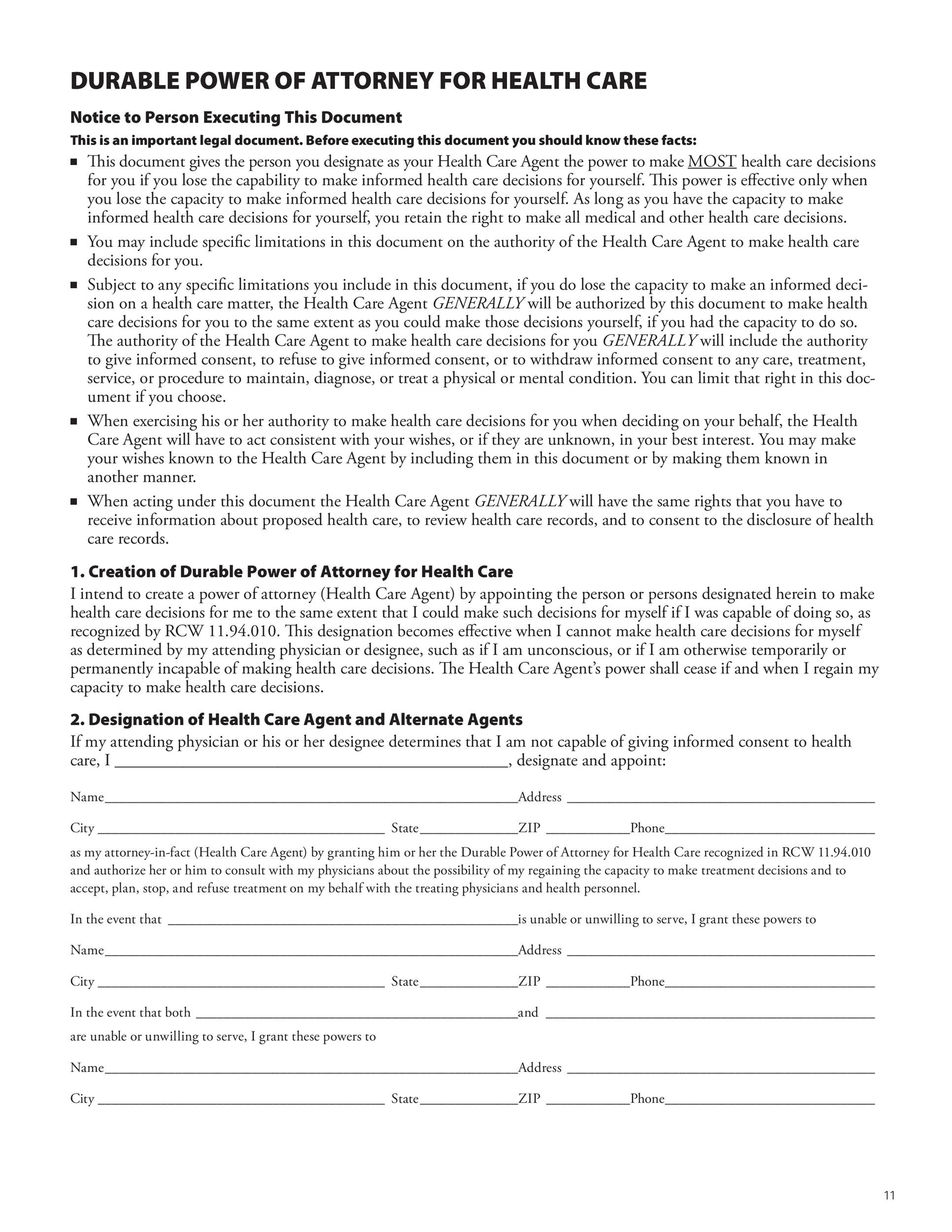 Free Power Of Attorney Forms Templates Durable MedicalGeneral - Durable power of attorney template