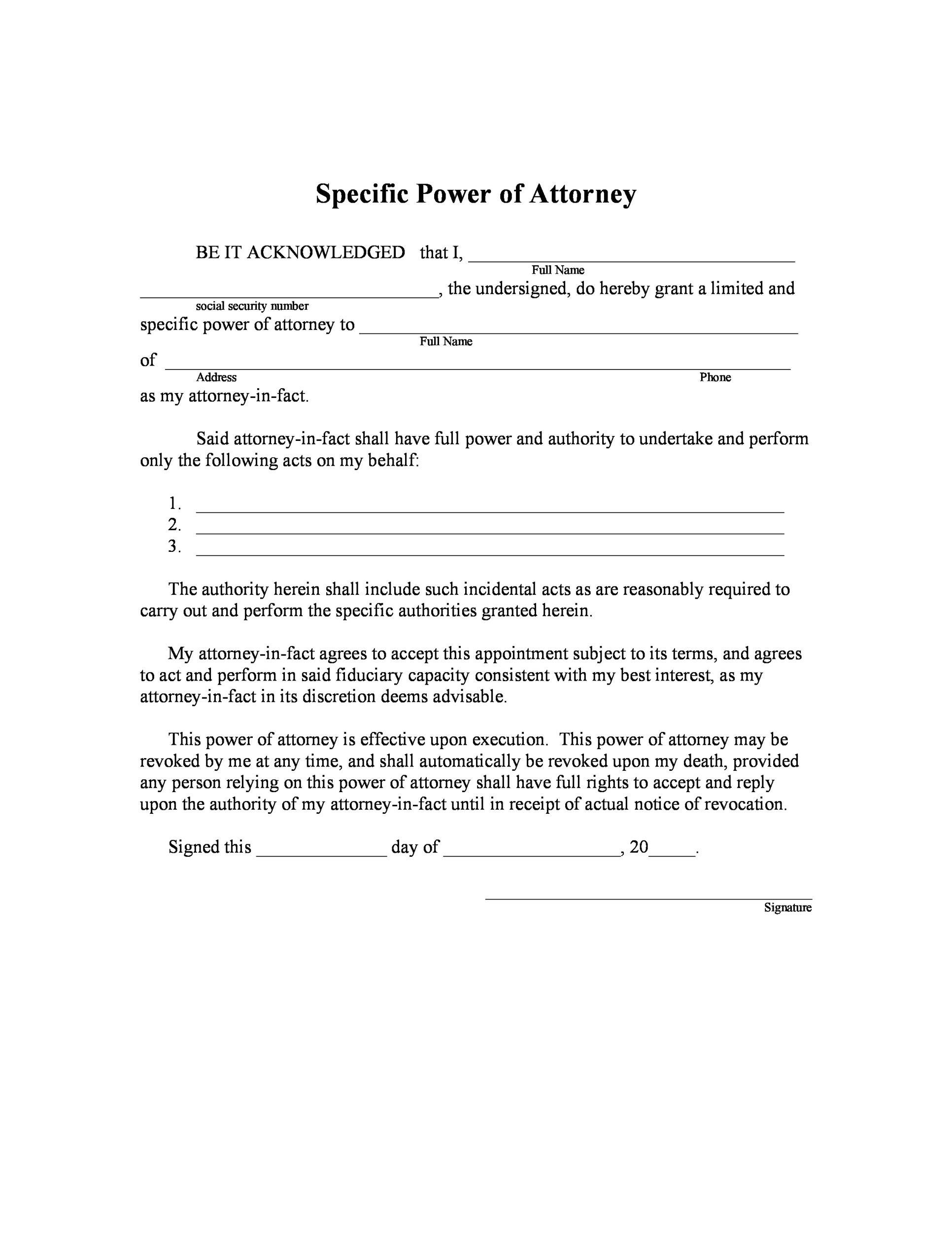 power of attorney form template  11 Free Power of Attorney Forms & Templates (Durable ...