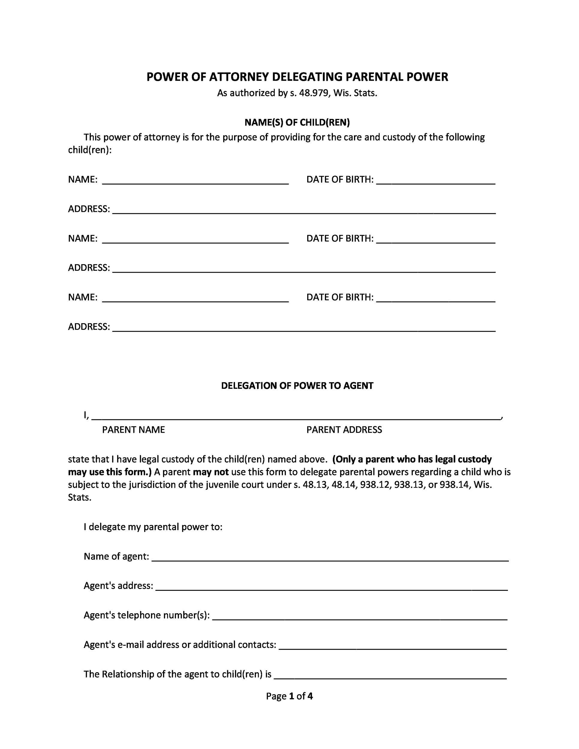 printable simple power of attorney form  10 Free Power of Attorney Forms & Templates (Durable ...
