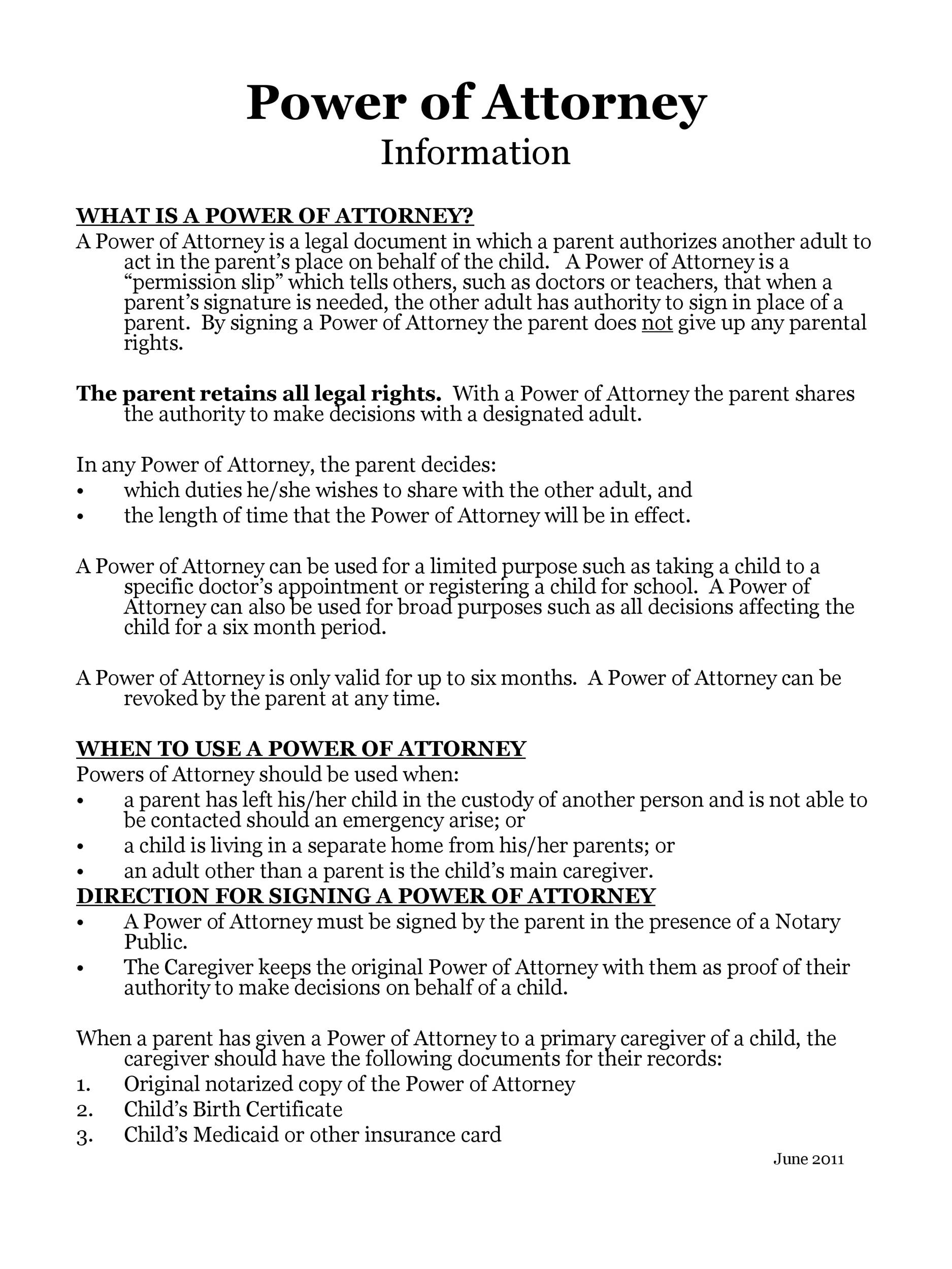 Free power of attorney 50