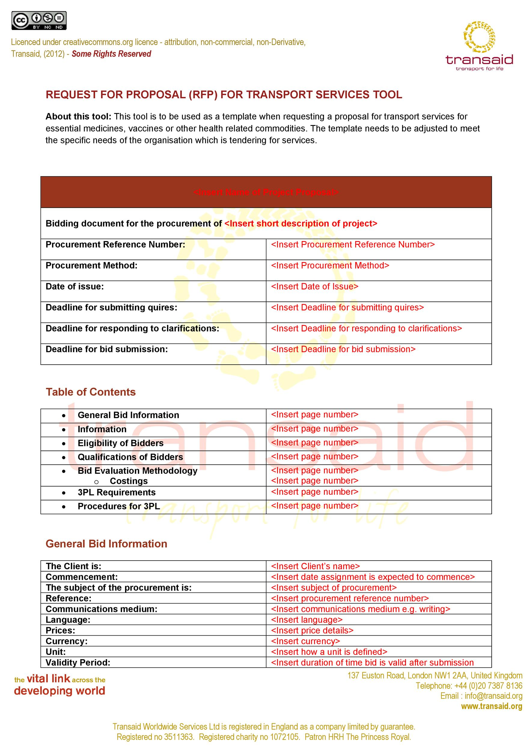 Free Request for Proposal Template 02