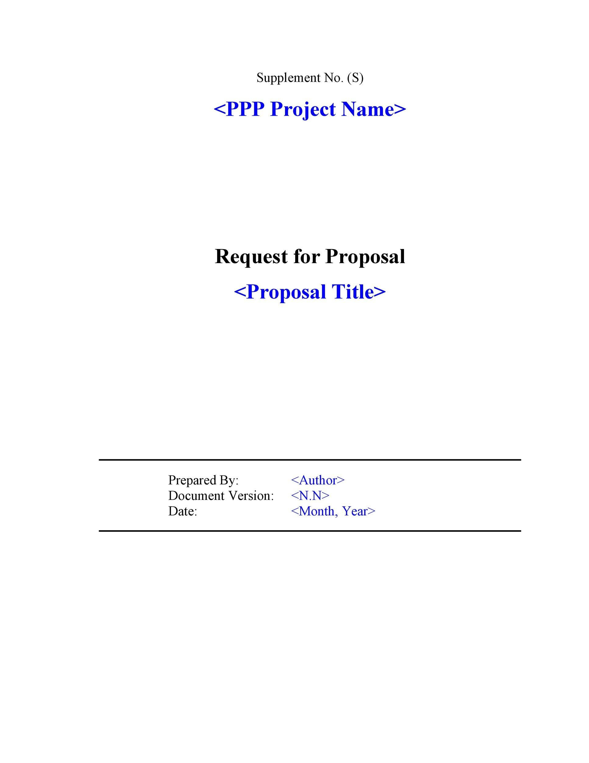 40 Best Request for Proposal Templates Examples RPF Templates – Proposal Sample Template
