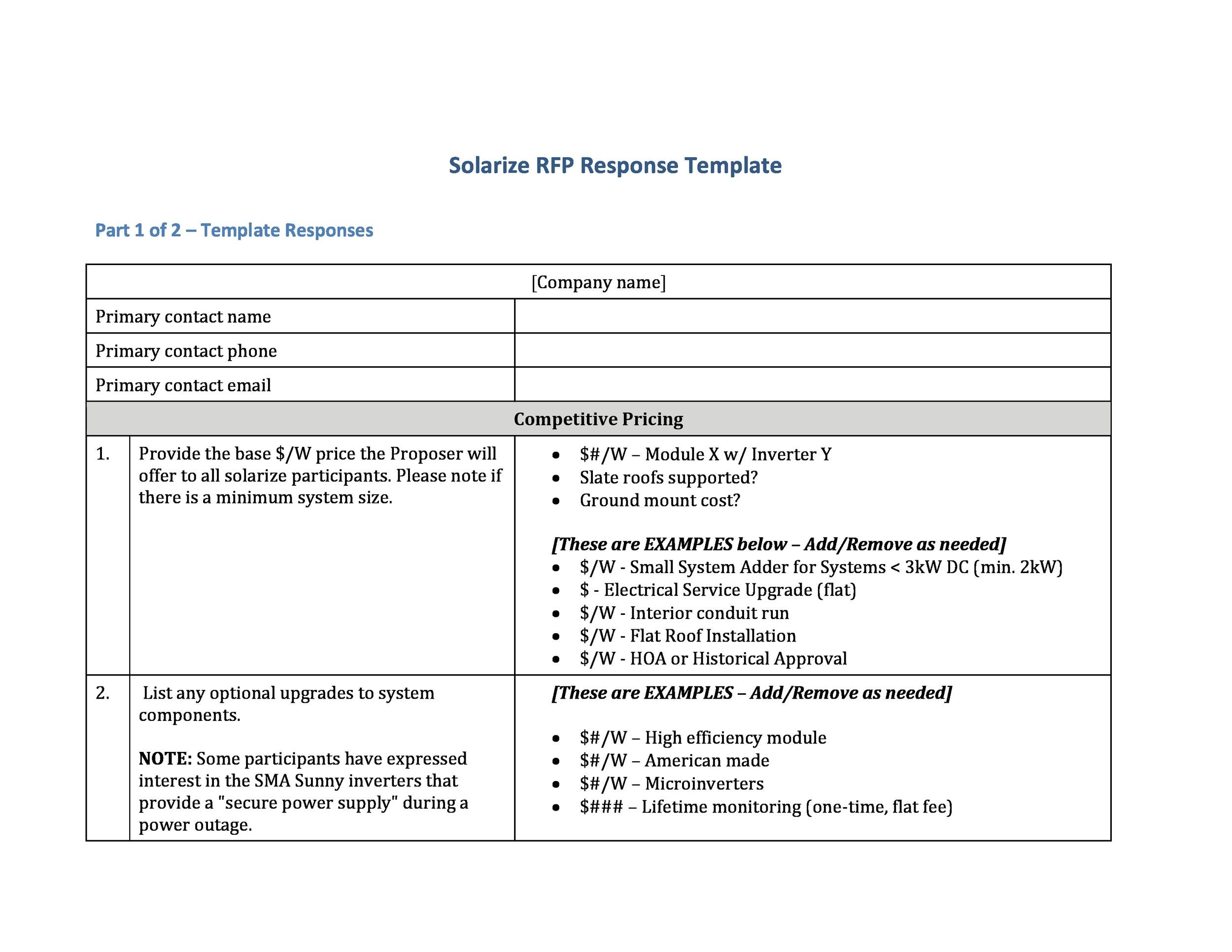 Best Request For Proposal Templates  Examples Rpf Templates