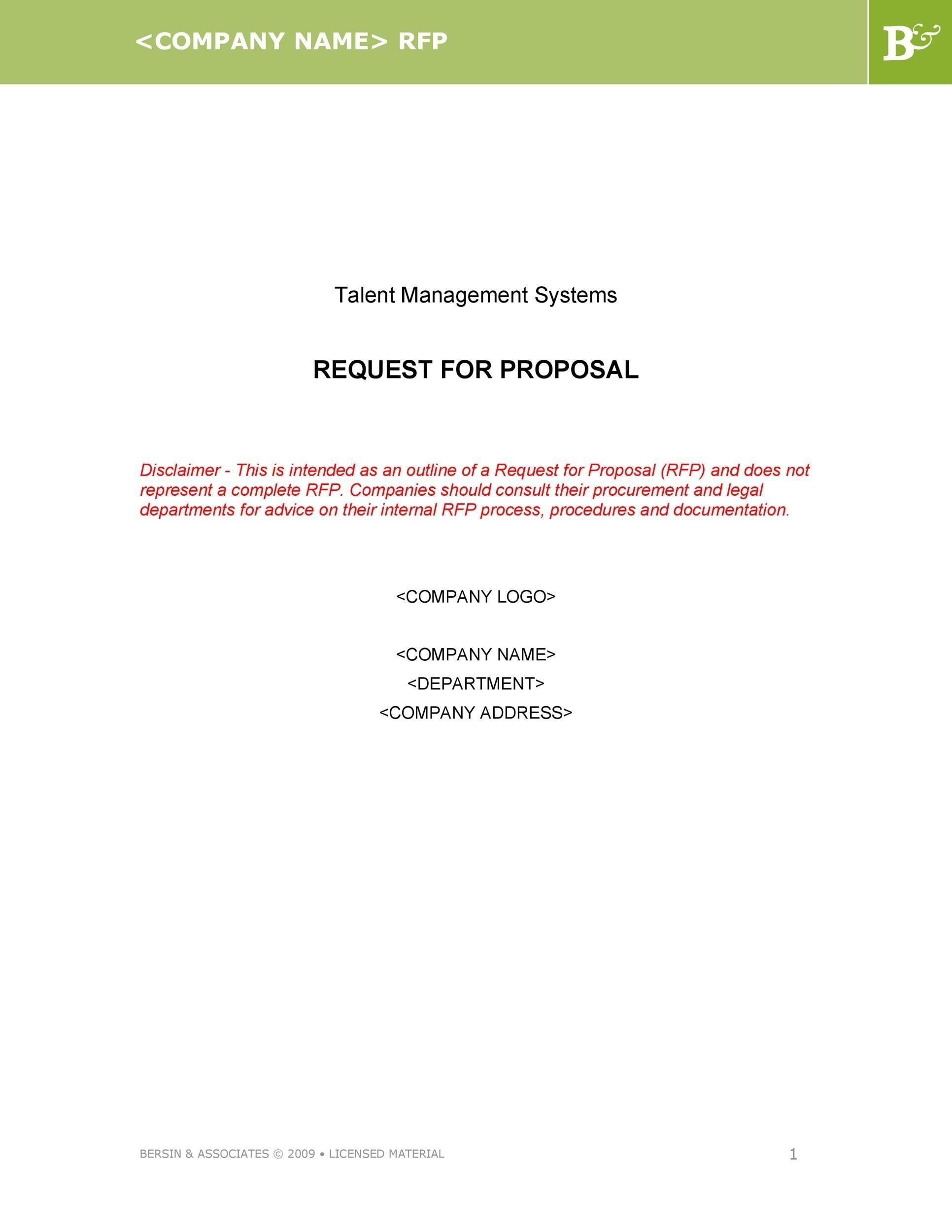 Free Request for Proposal Template 42
