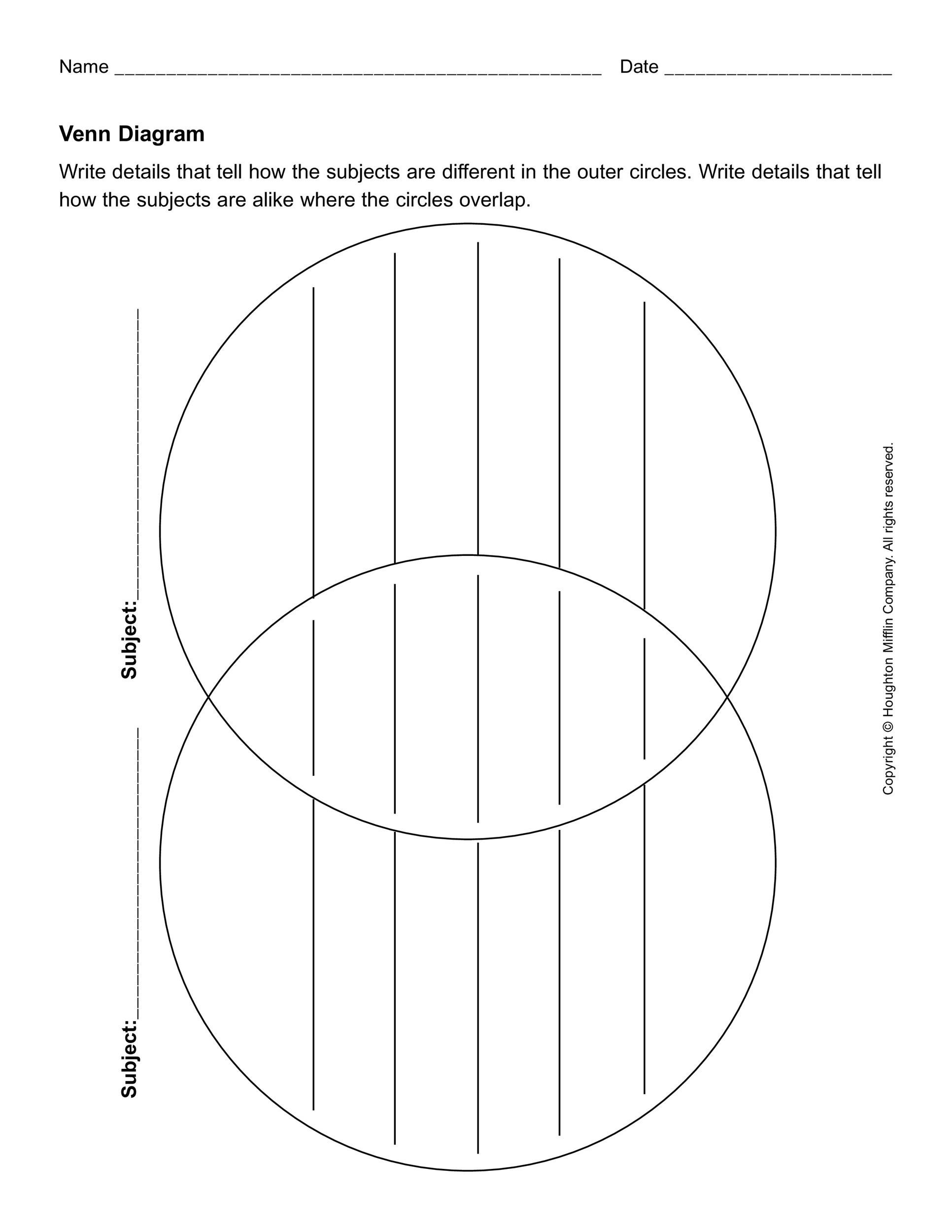 picture relating to Printable Venn Diagrams With Lines titled 40+ No cost Venn Diagram Templates (Term, PDF) ᐅ Template Lab
