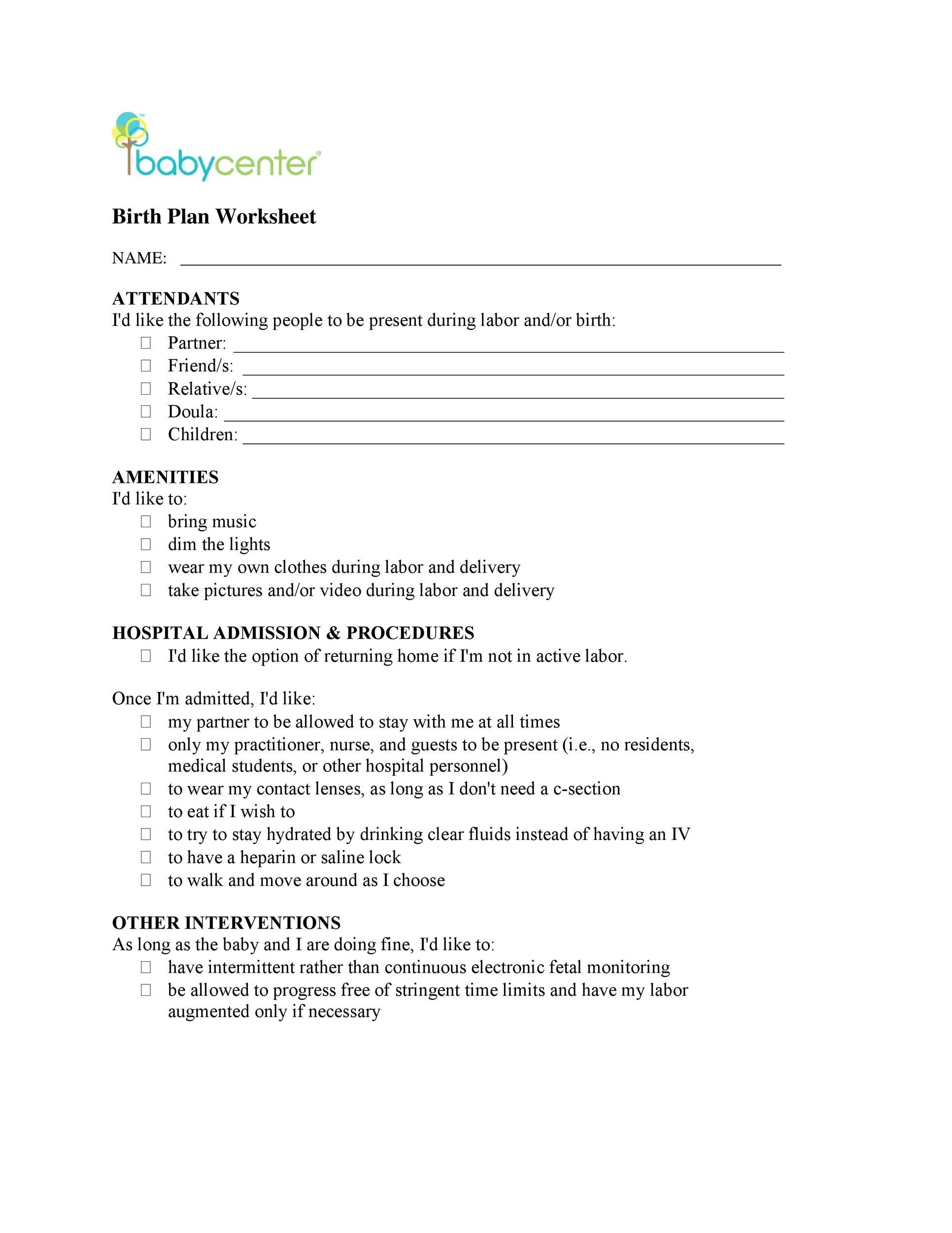 47+ Printable Birth Plan Templates [Birth Plan Checklist] - Template Lab