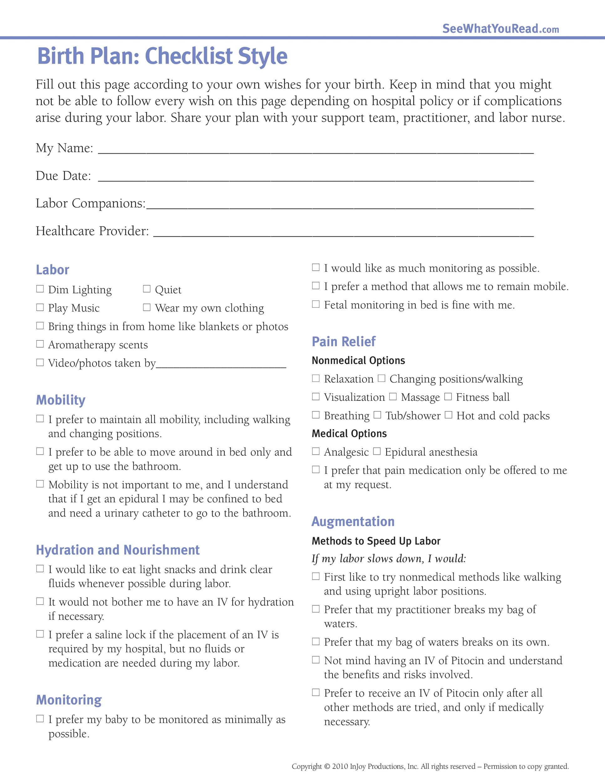 47 Printable Birth Plan Templates Birth Plan Checklist Template Lab