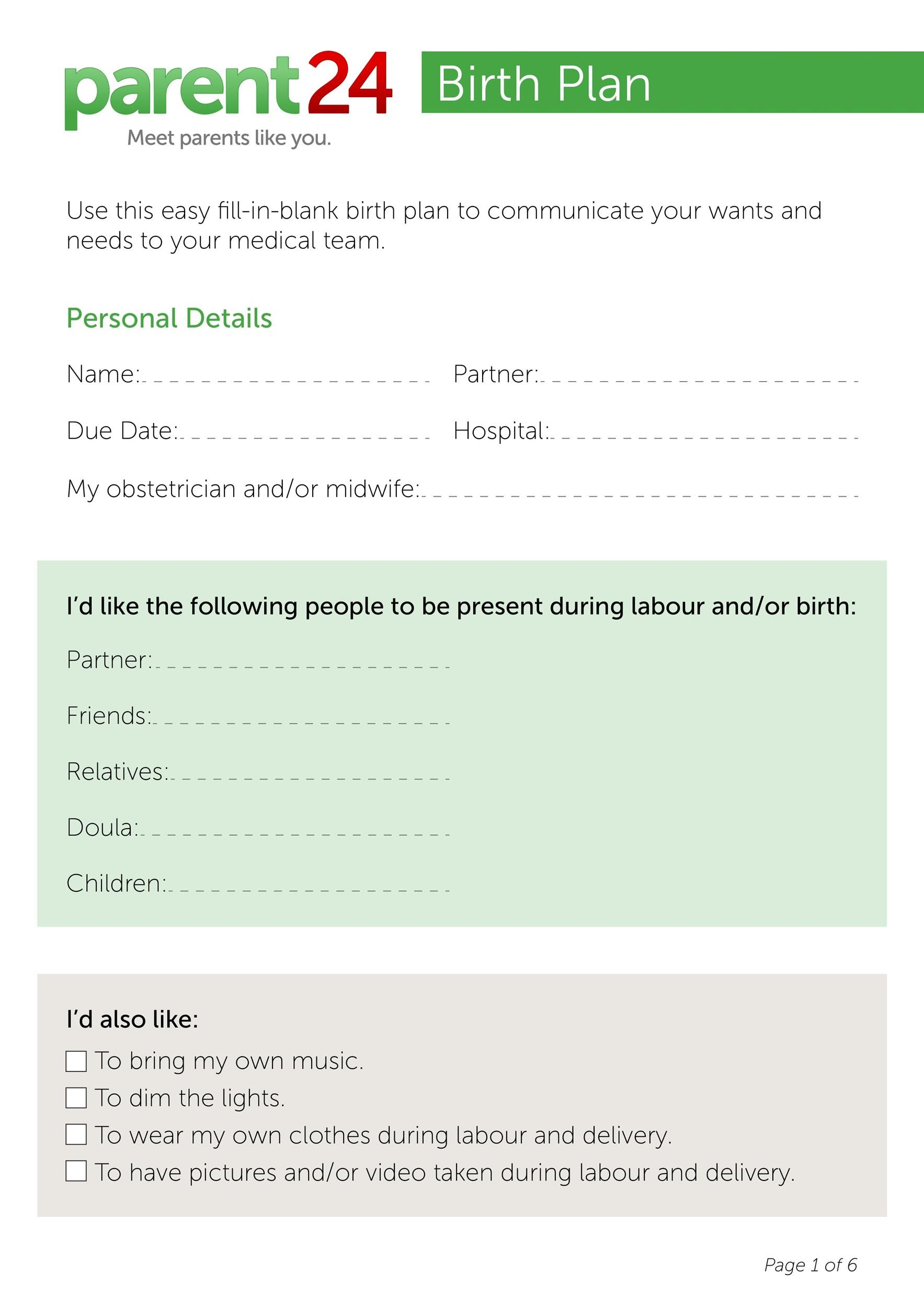 Free Birth Plan Template 10