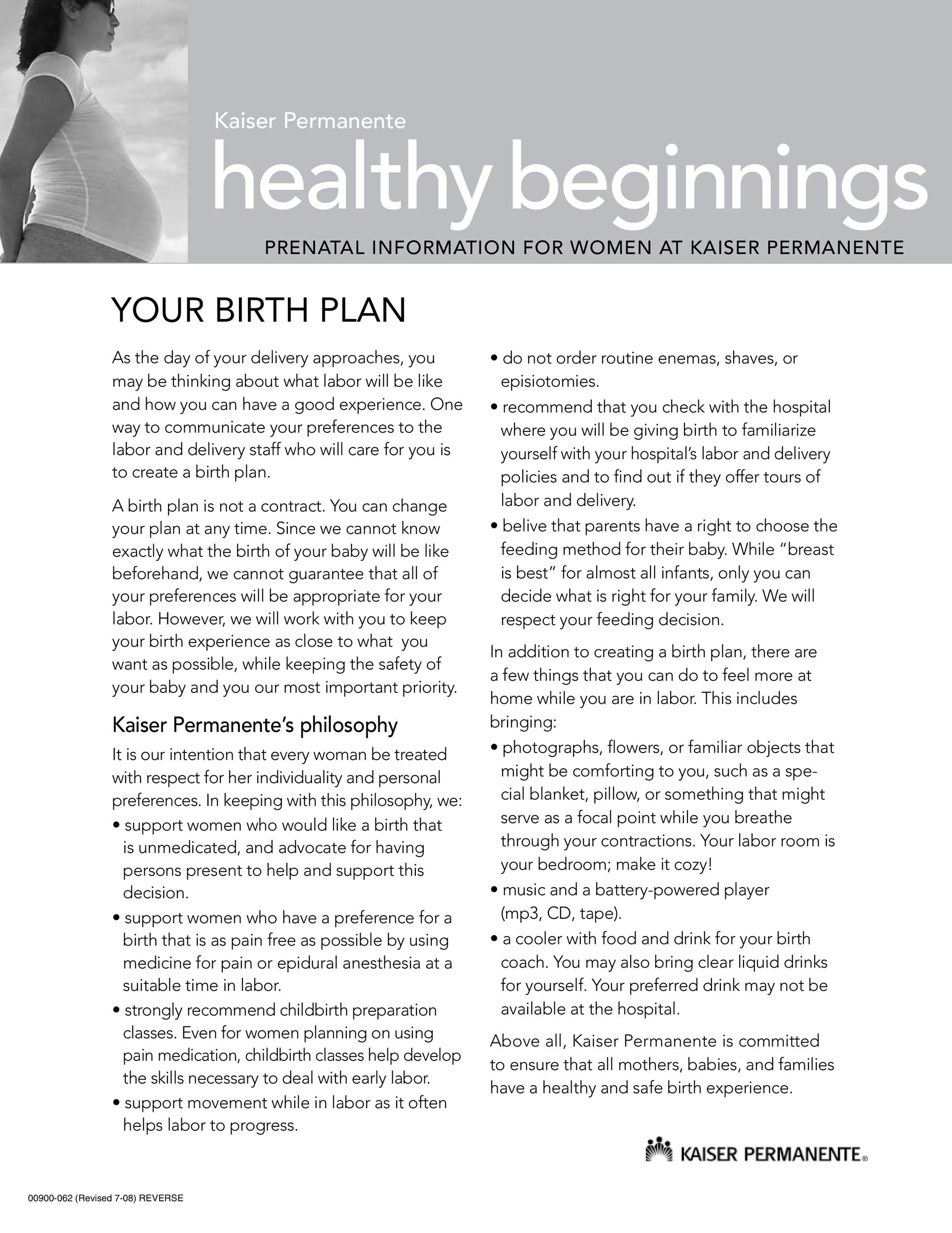 Printable Birth Plan Templates Birth Plan Checklist