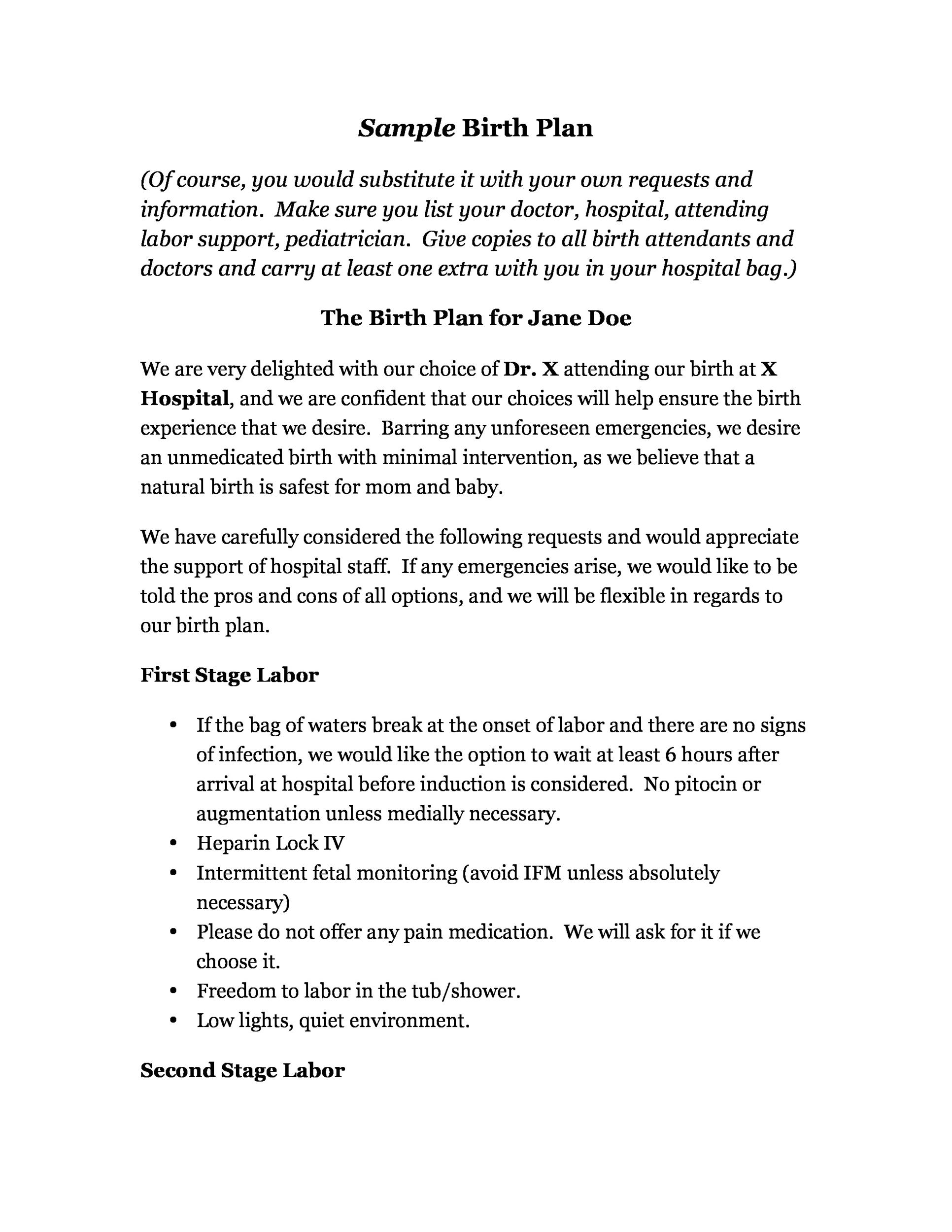 Free Birth Plan Template 29