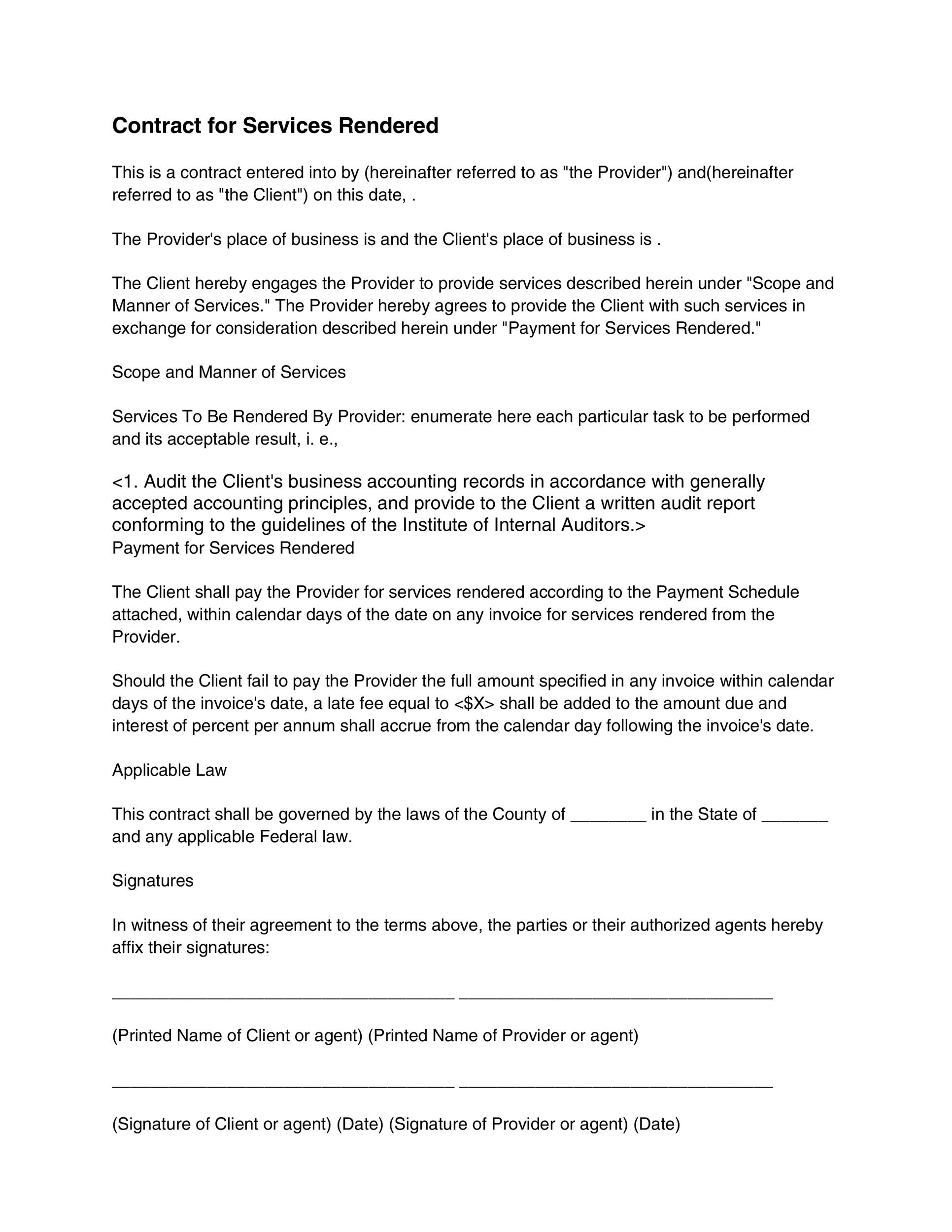 written contract template