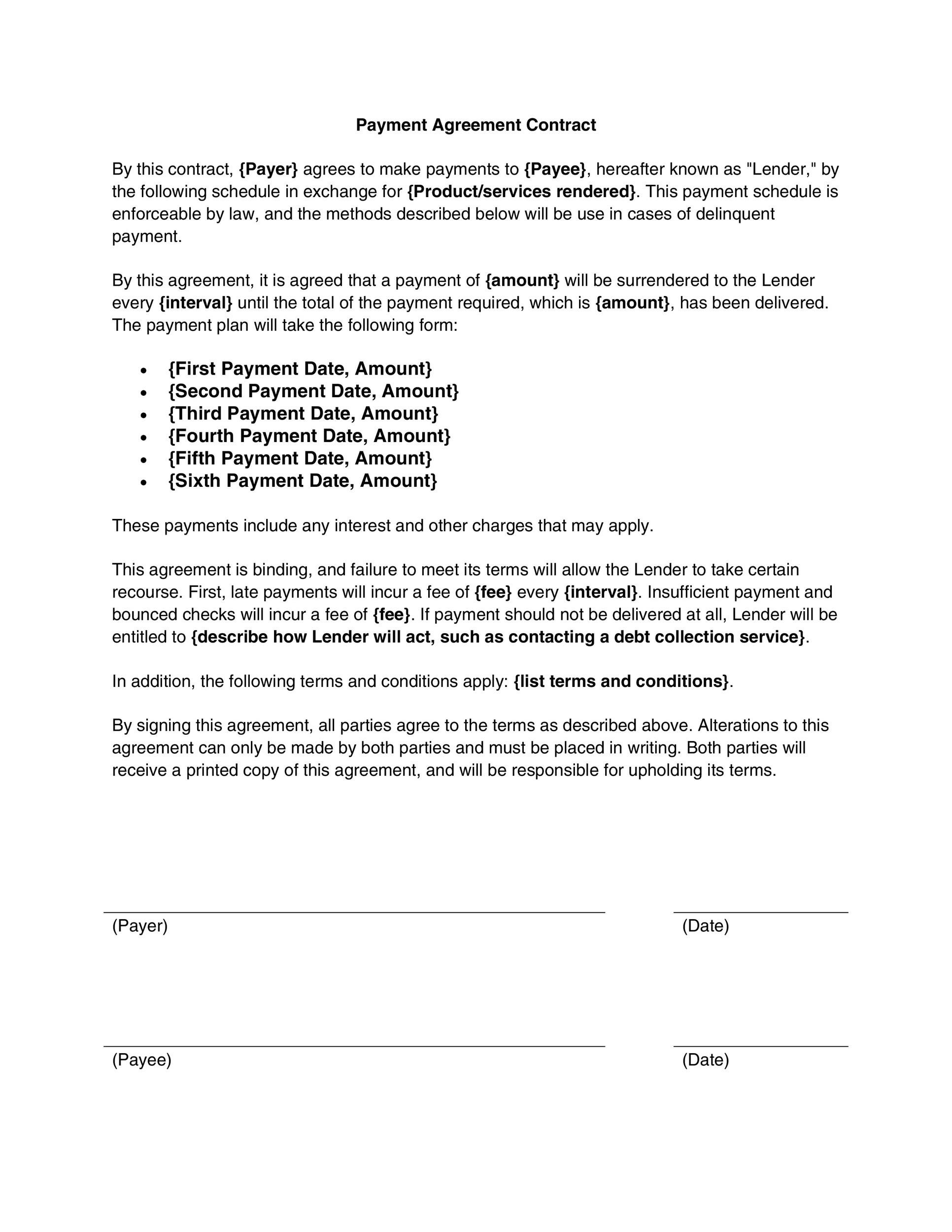 Payment Agreement Contract Contract Template   Great Contract
