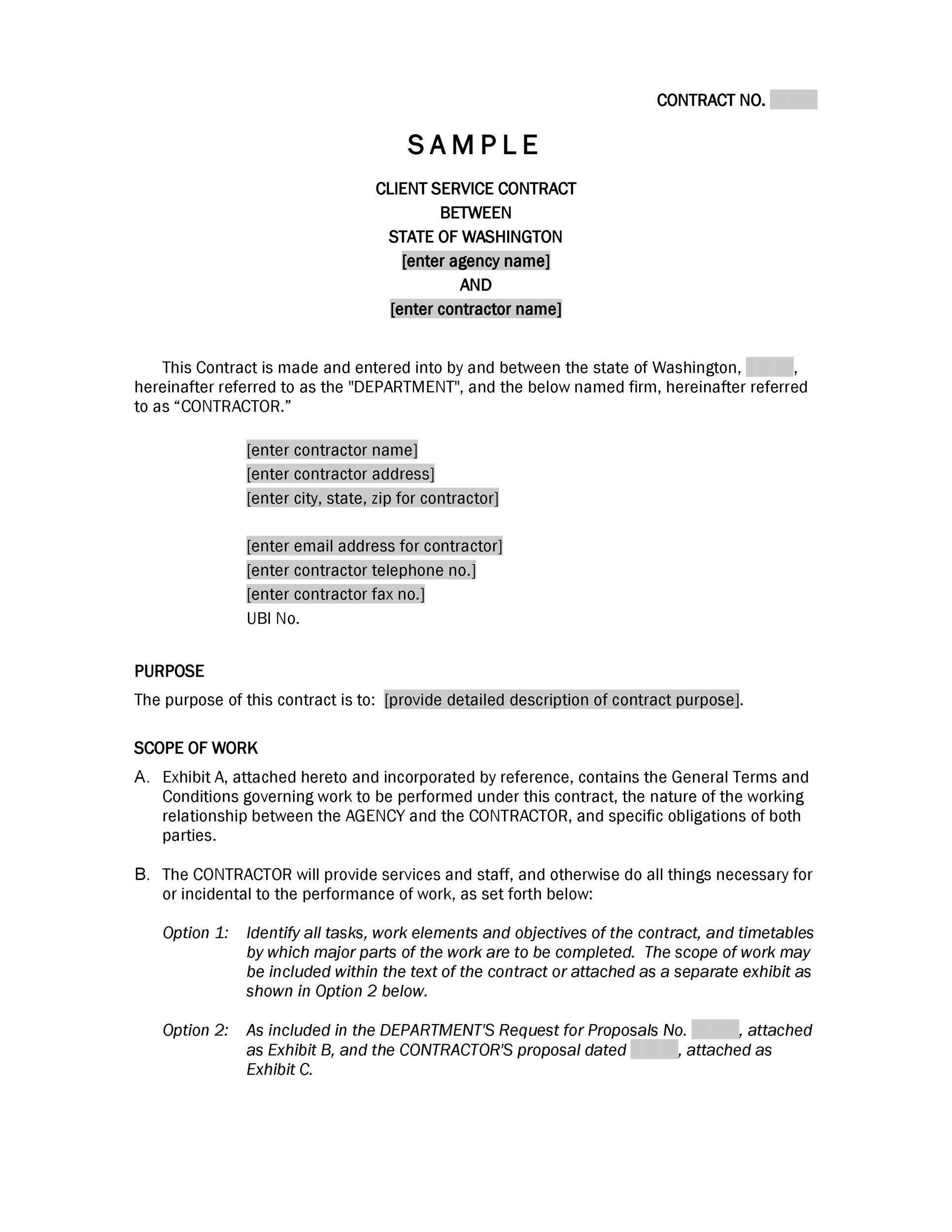 Work Contract Templates Contract Template Great Contract Templates
