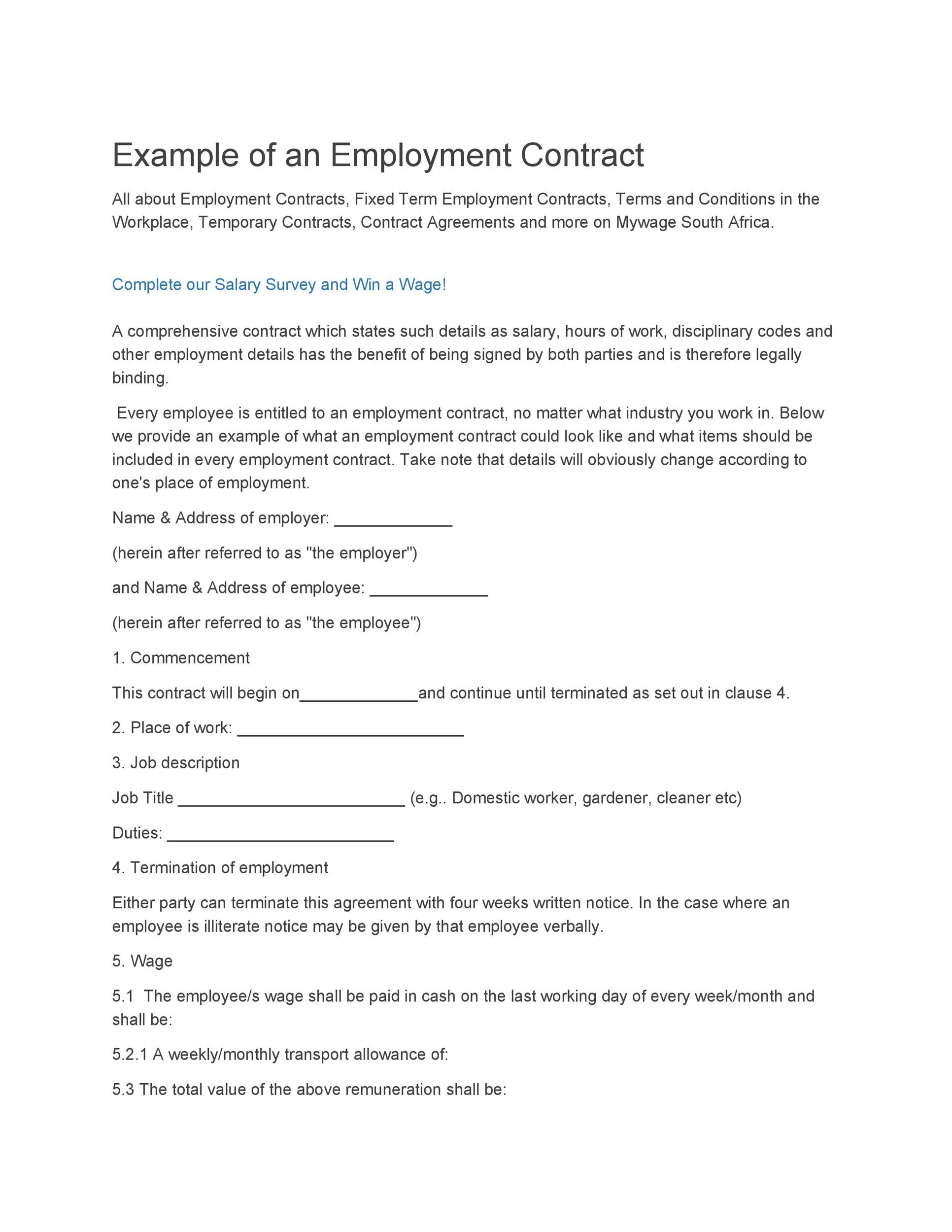 image relating to Free Printable Employment Contracts referred to as 40 Ideal Agreement Templates (Work opportunities, Structure