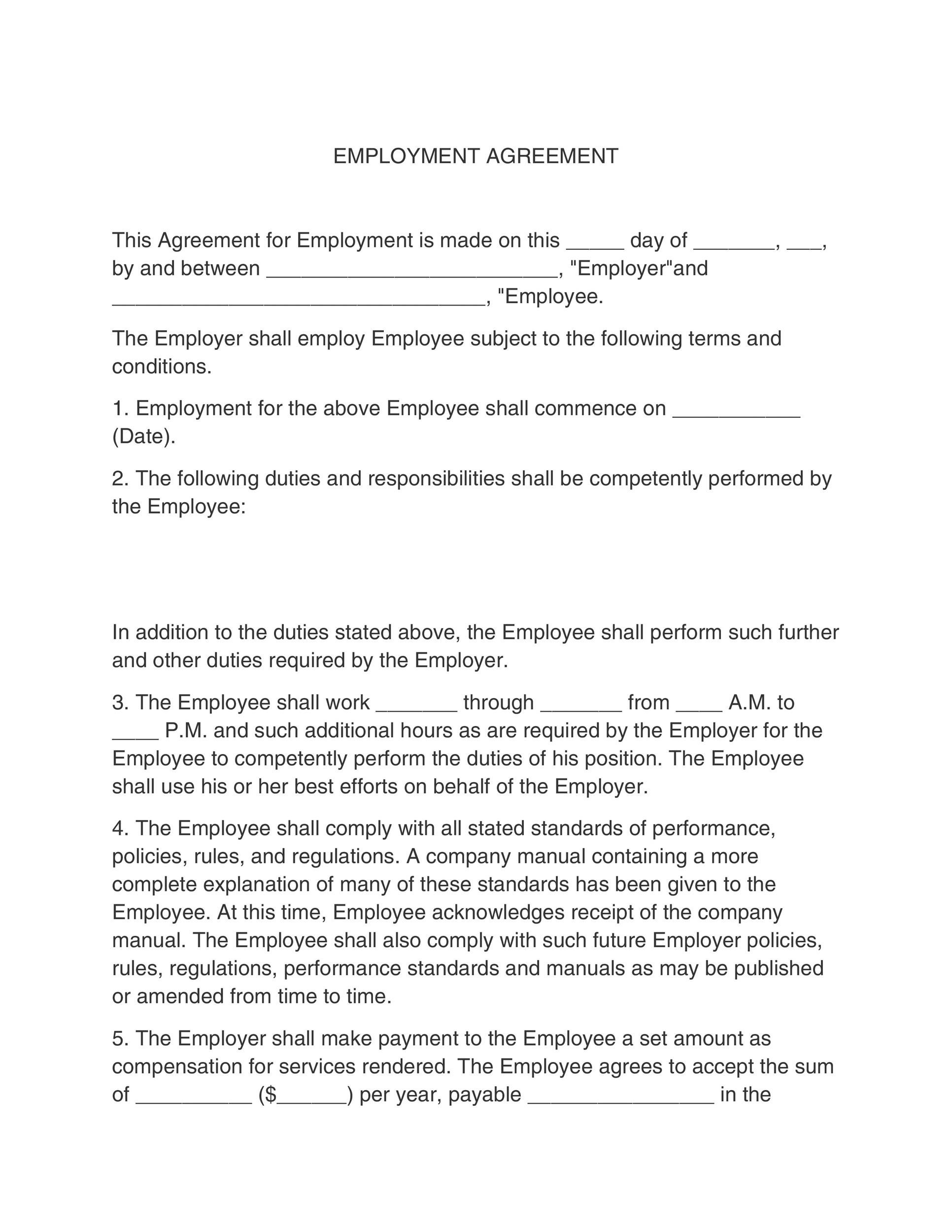 Employment Contract Template SampleManagerEmploymentContract – Format for Contract