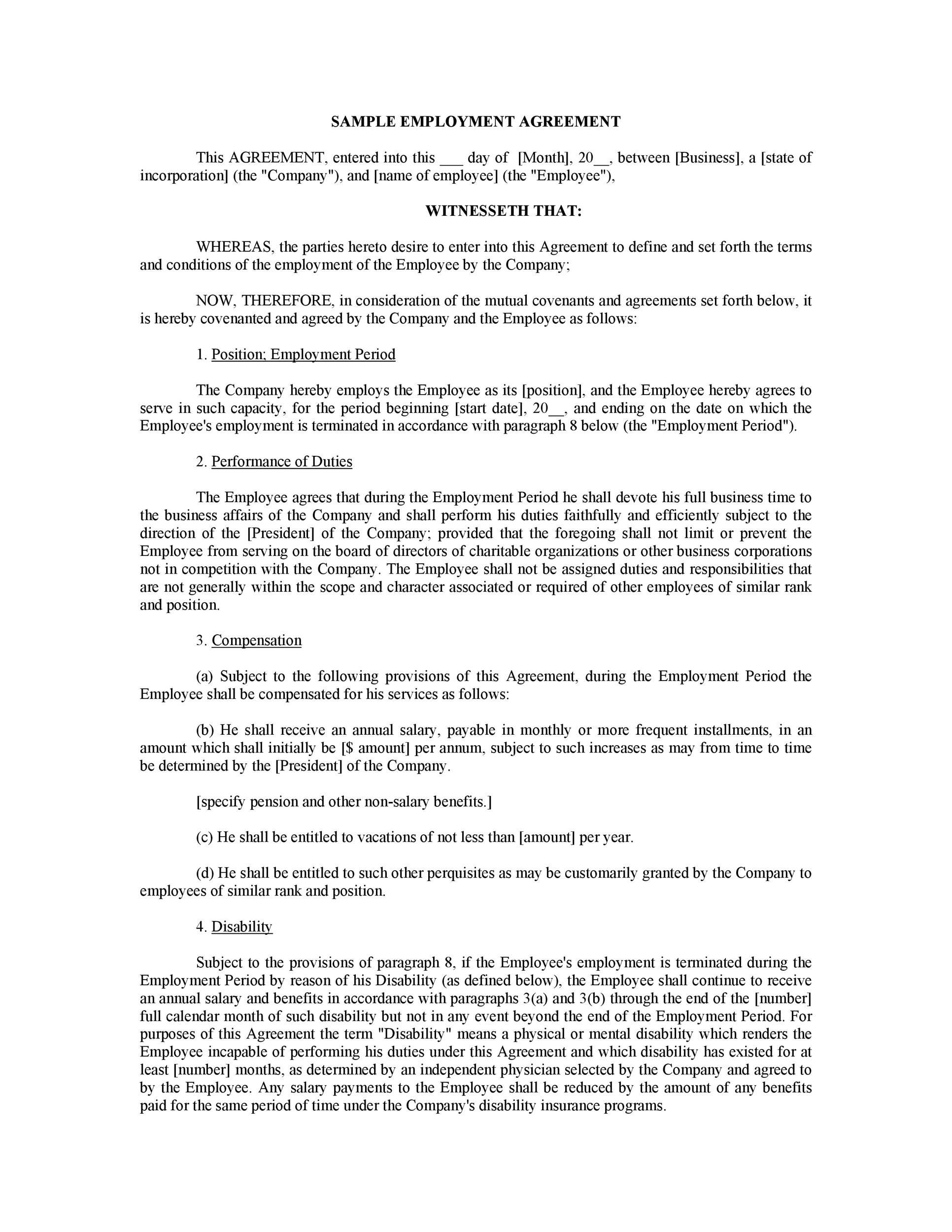 Job Agreement Contract Employment Contract Agreement Sample