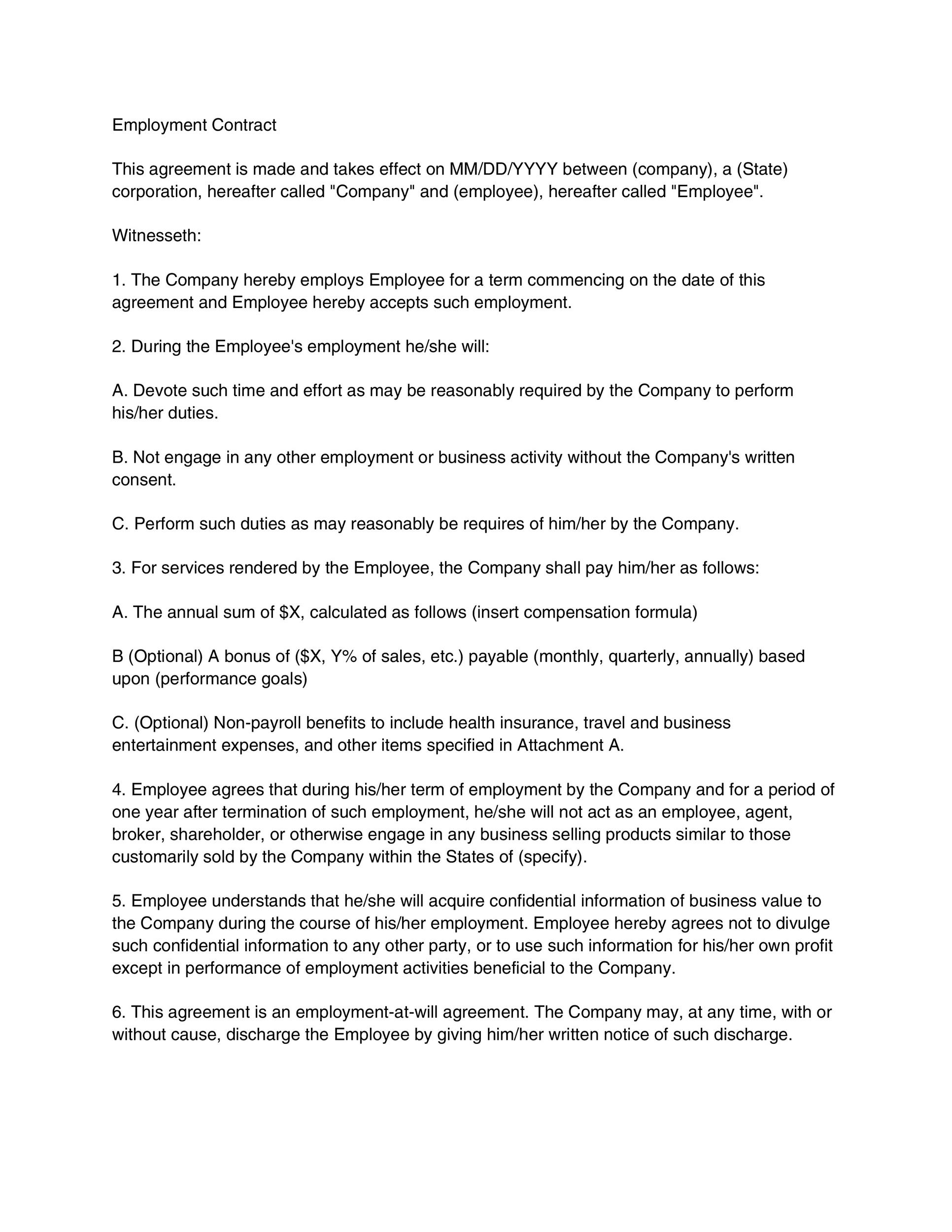 Sales Employment Agreement. Sample Hr Contract Templates