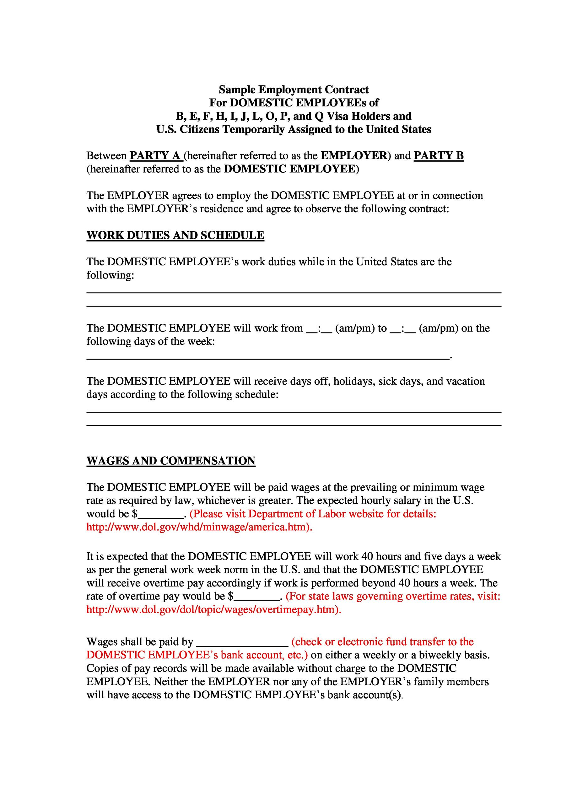 image relating to Free Printable Employment Contracts referred to as 40 Wonderful Agreement Templates (Jobs, Composition