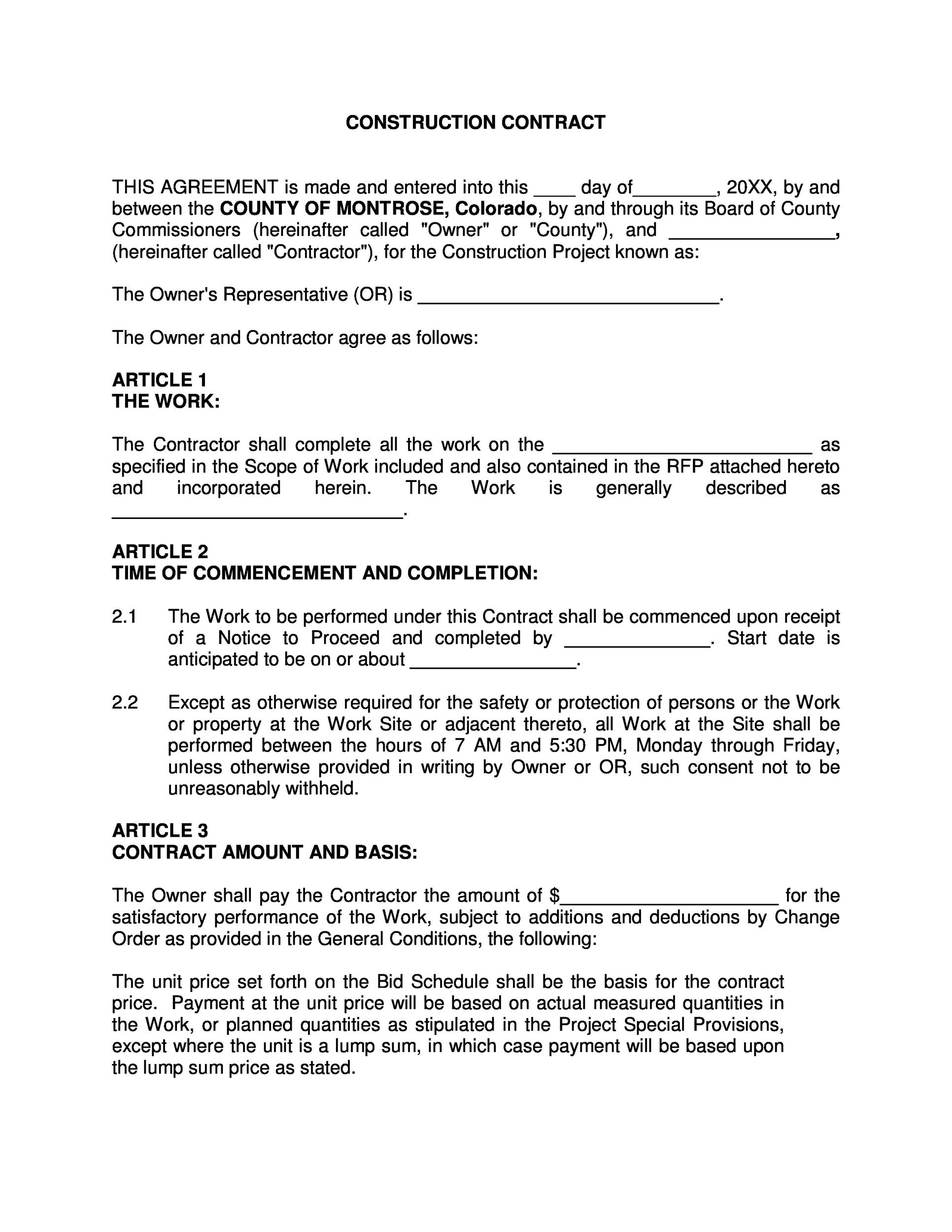 Printable Contract Template 28  Construction Contract Template