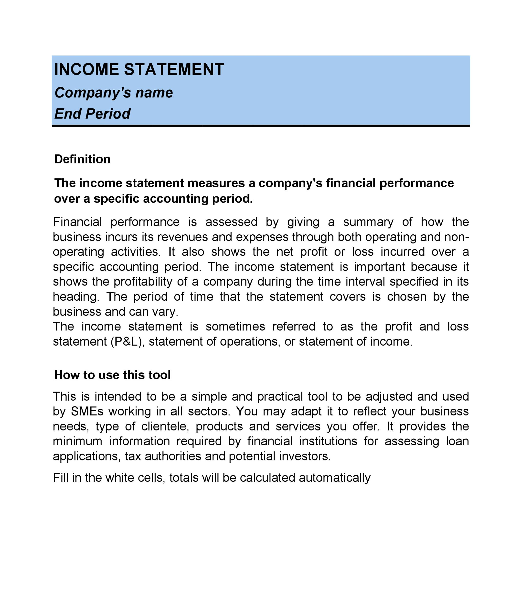 Statement Templates Income Statement Template Income Statement