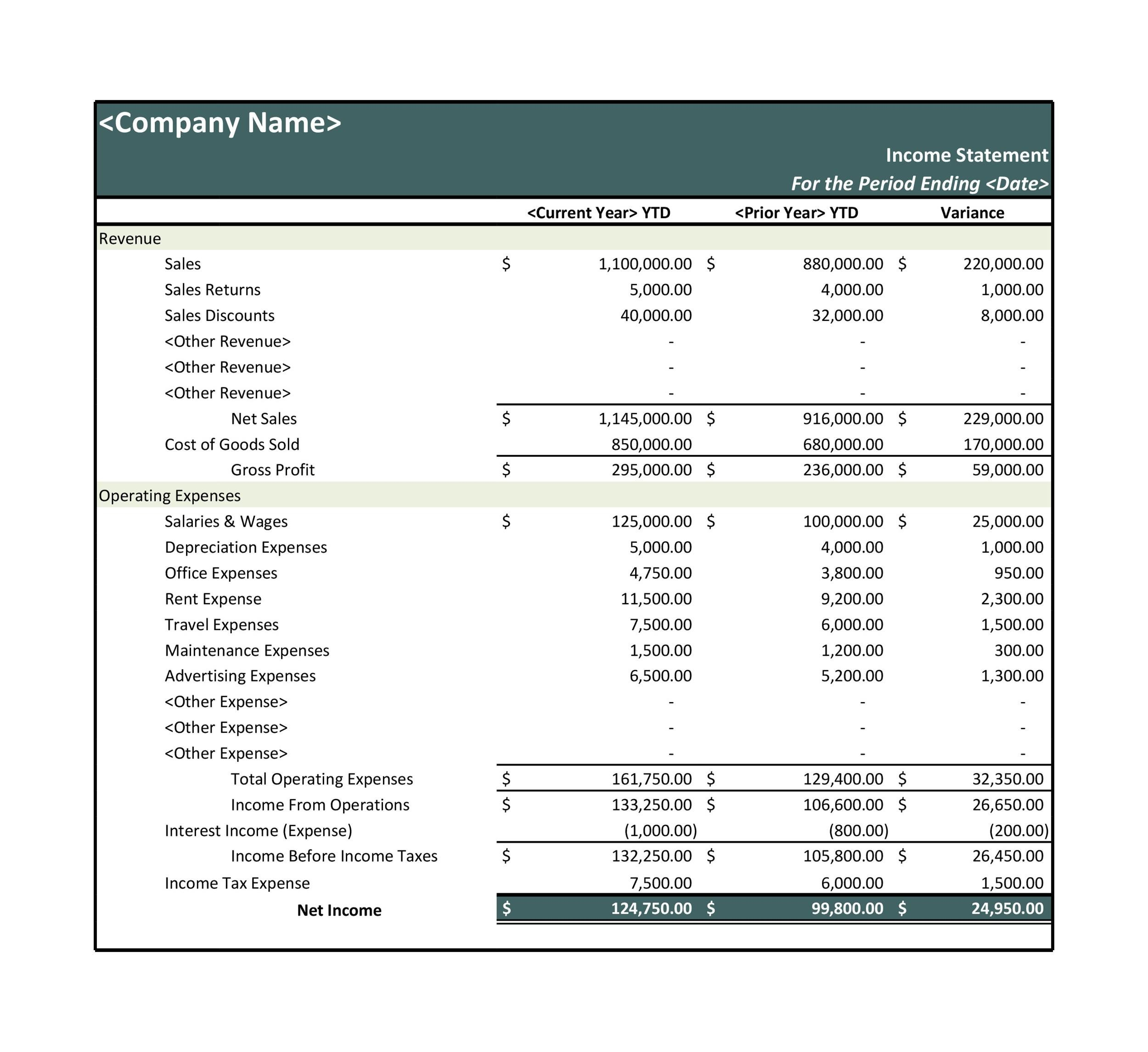 Free Income Statement Template 09