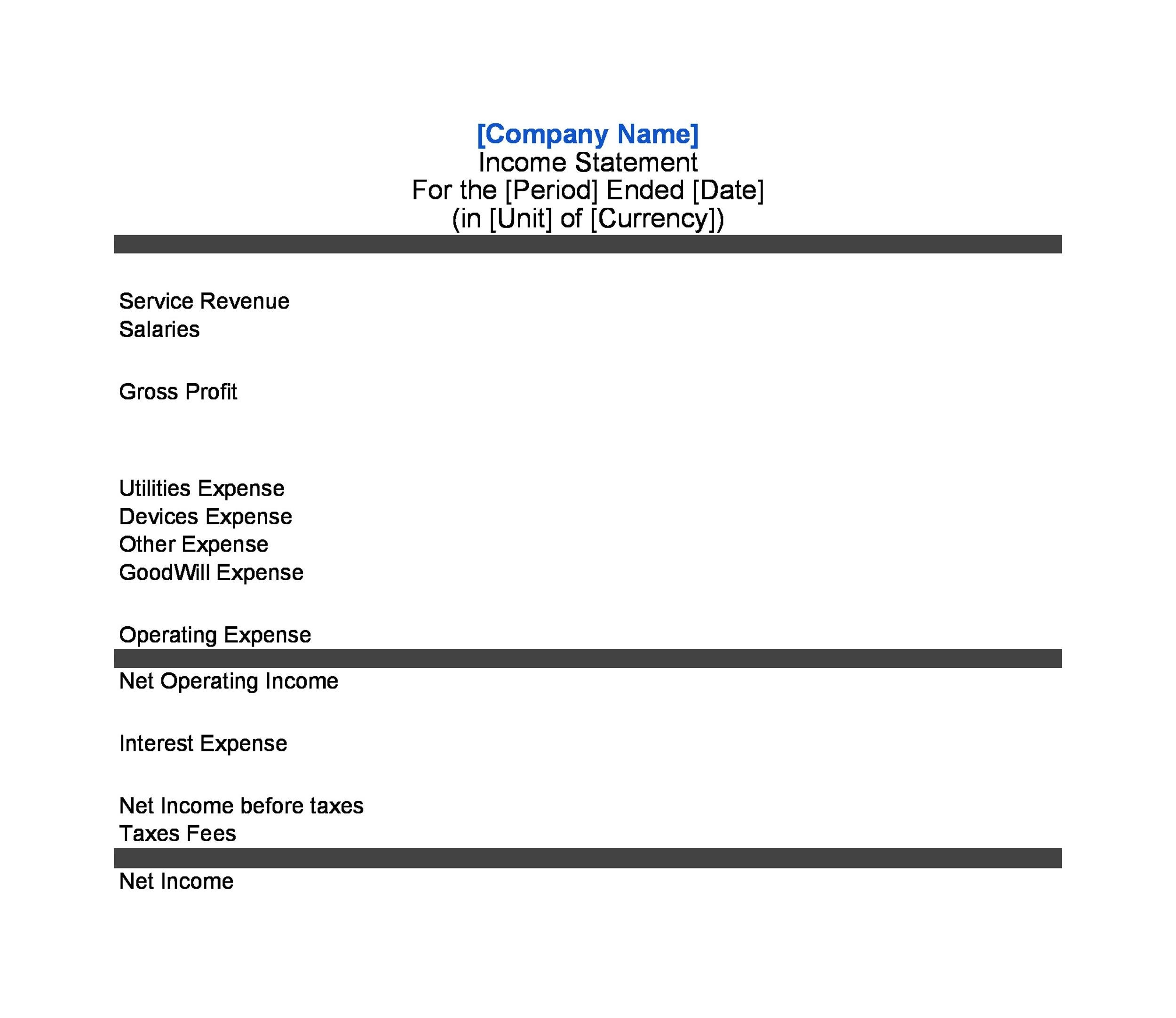 Printable Income Statement Template 18  Profit Statement Template