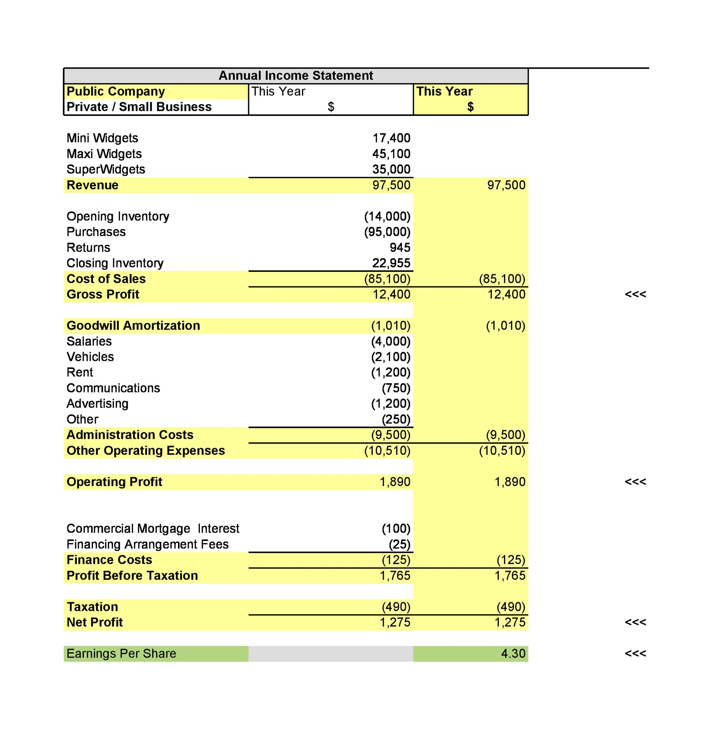 Free Income Statement Template 20