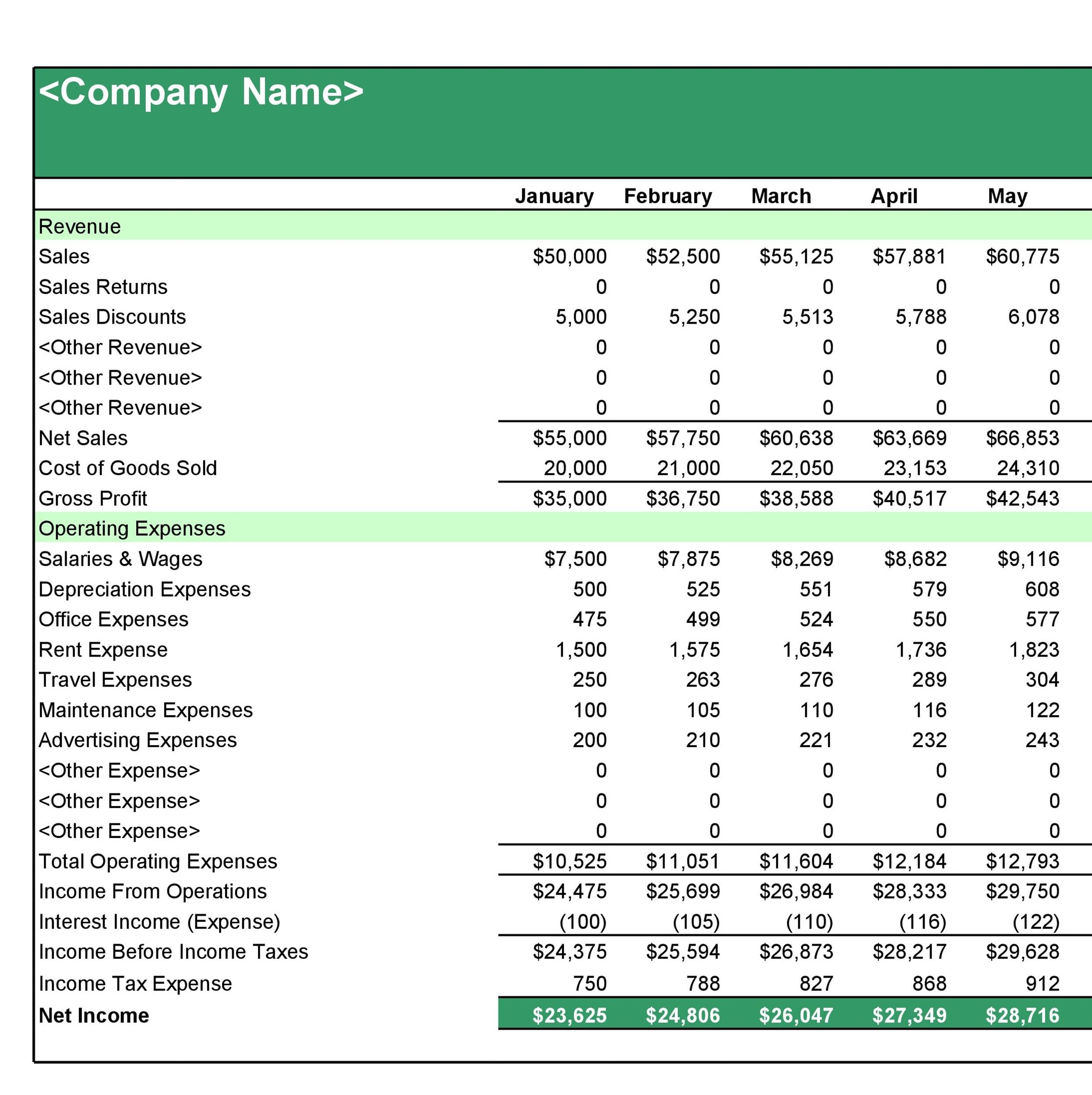 Free Income Statement Template 23