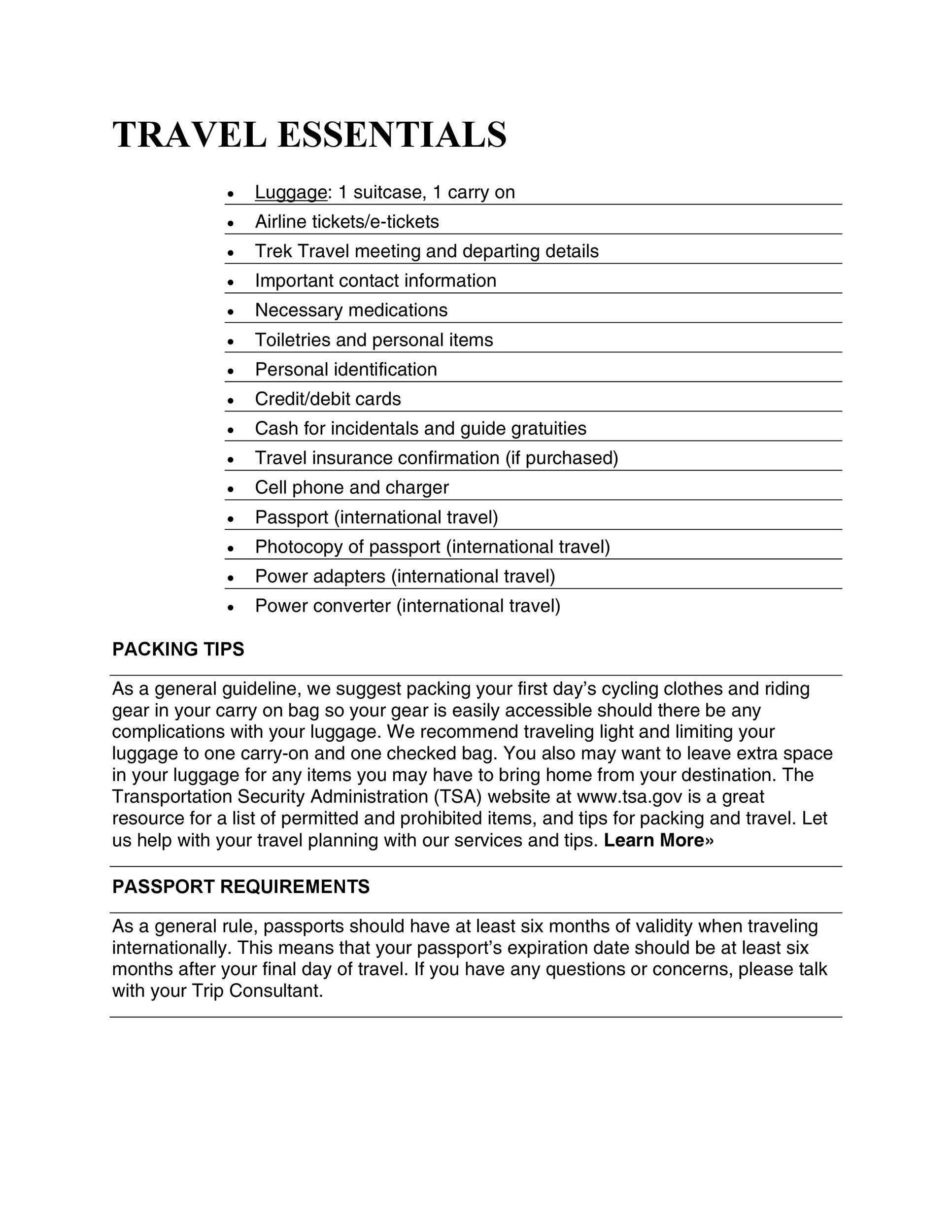Free Packing List Template 04