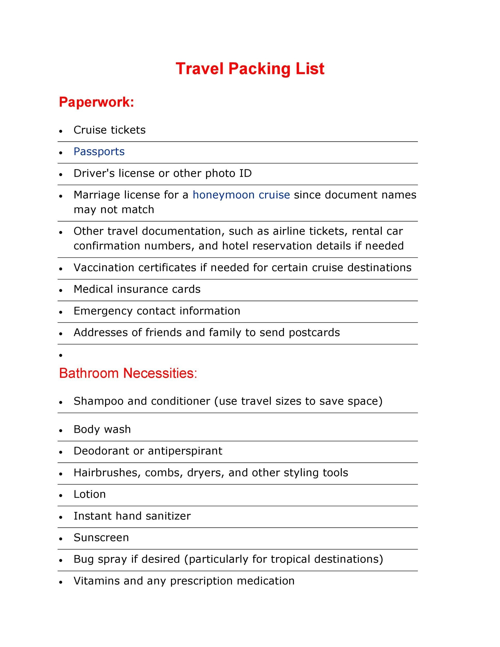 Free Packing List Template 07
